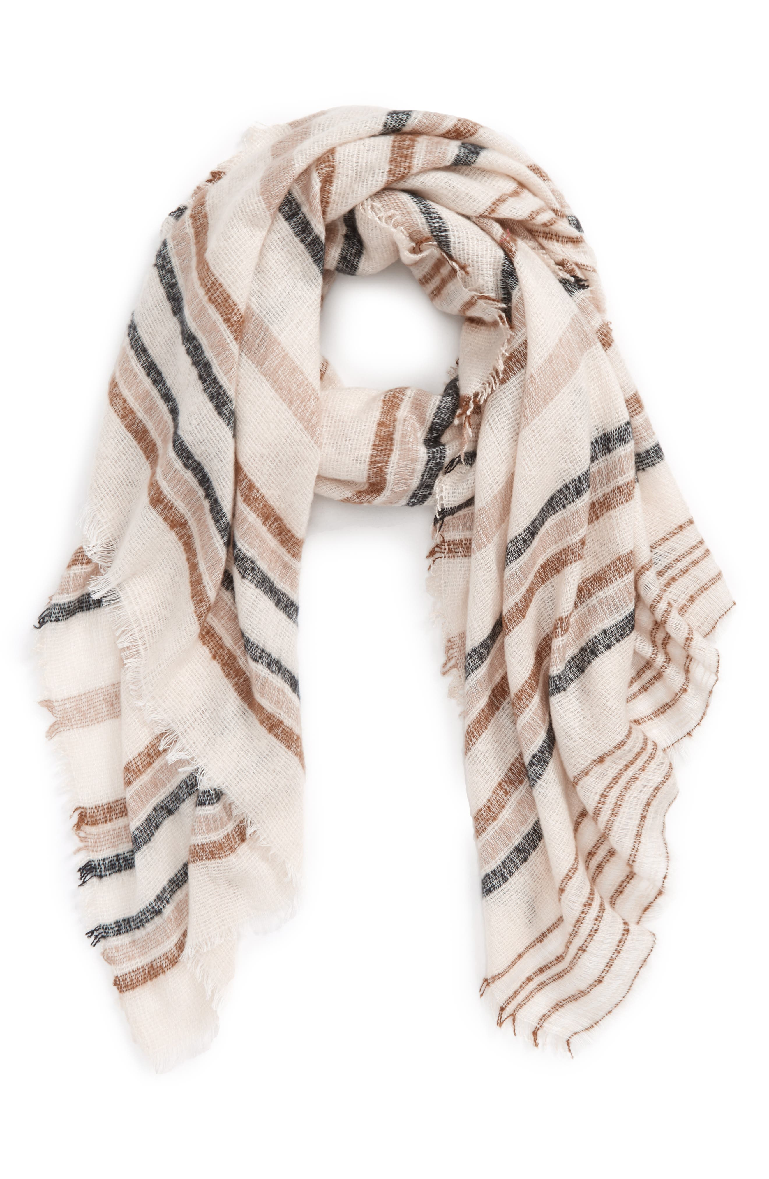 Textured Stripe Oblong Scarf,                         Main,                         color, Ivory