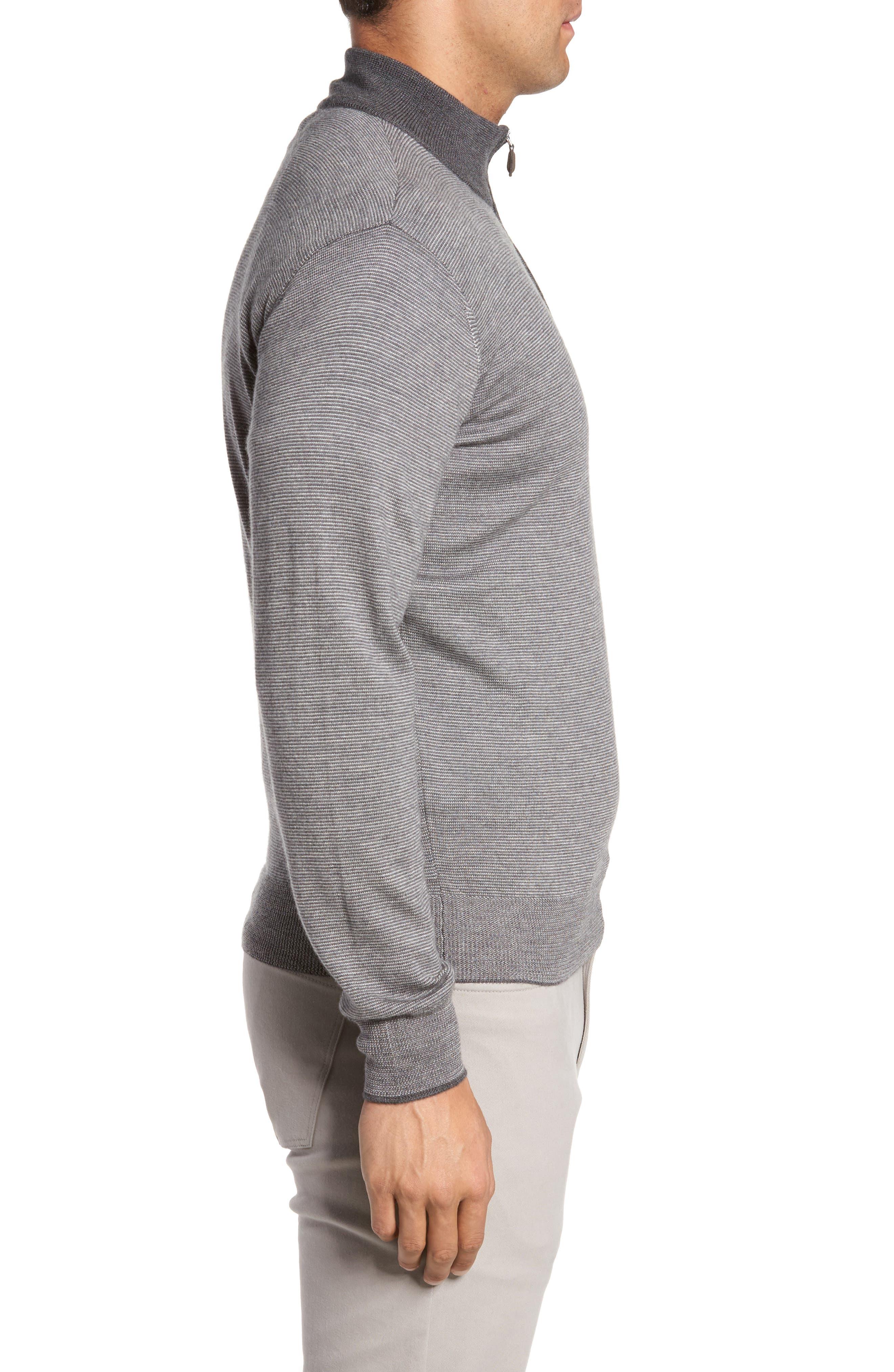 Needle Stripe Merino Blend Quarter Zip Pullover,                             Alternate thumbnail 3, color,                             Nickel