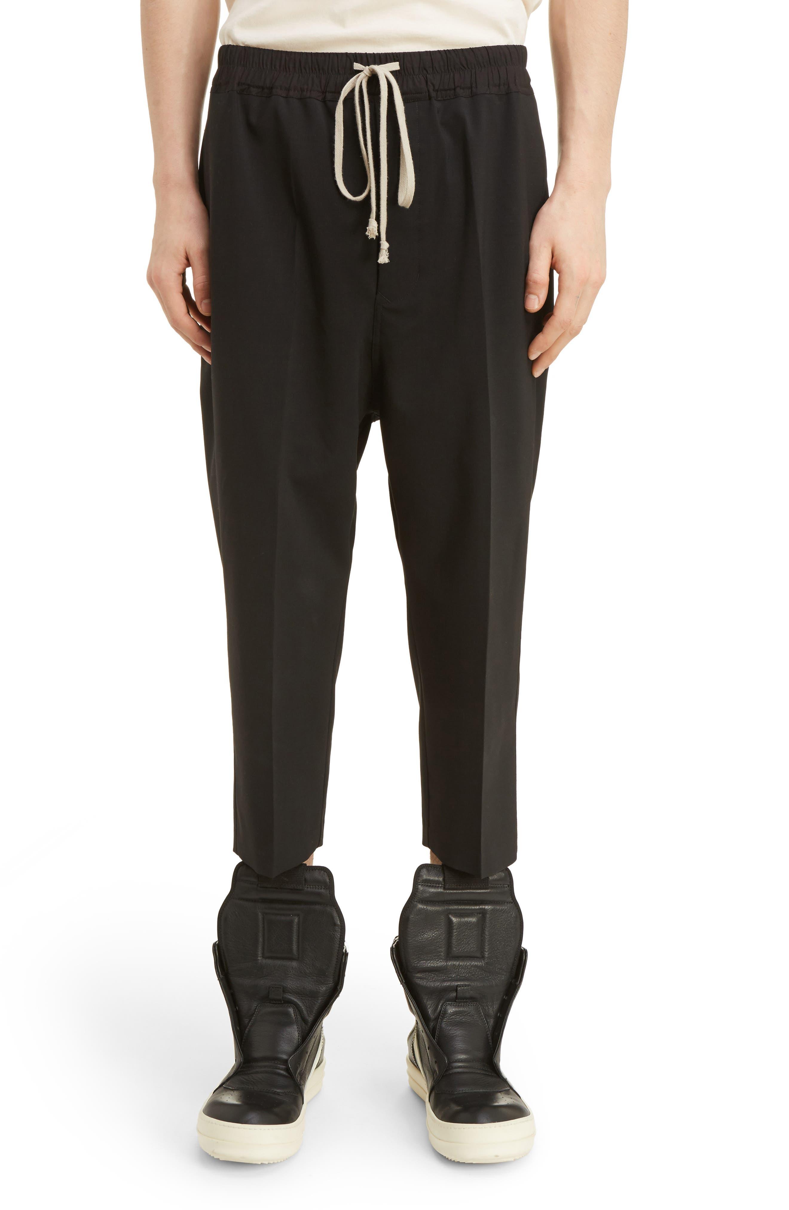 Cropped Wool Blend Pants,                             Main thumbnail 1, color,                             Black