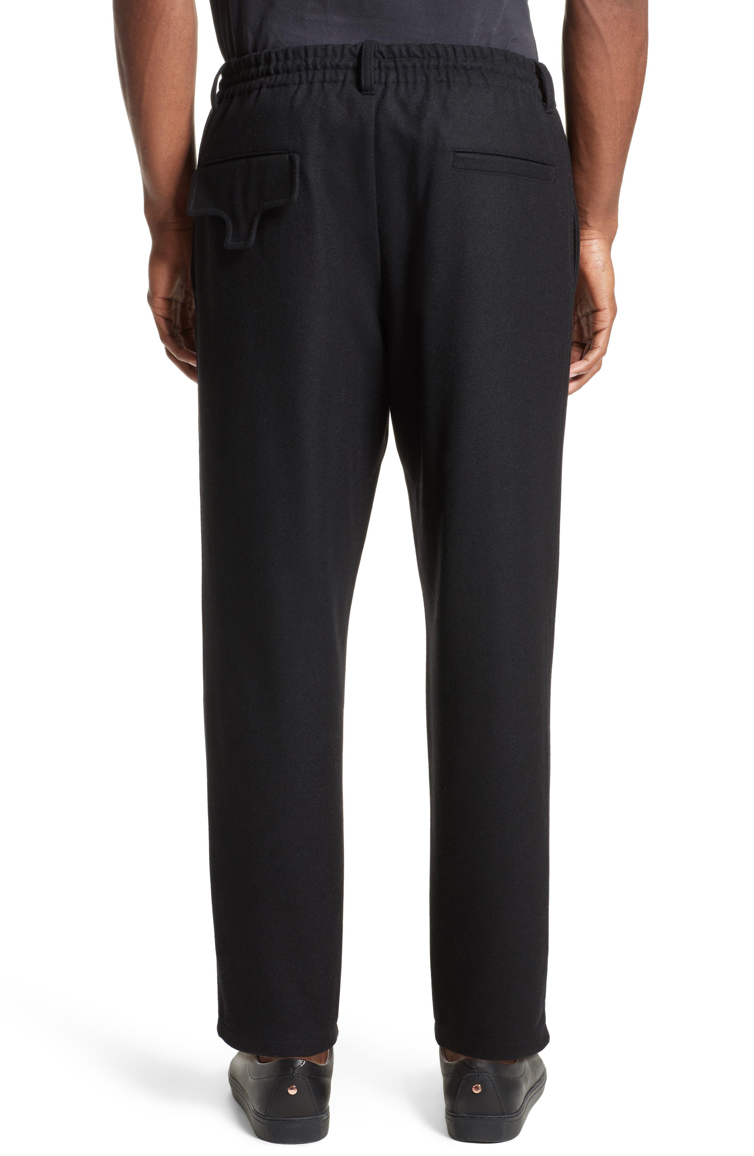 Cropped Wool Blend Pants,                             Alternate thumbnail 2, color,                             Black