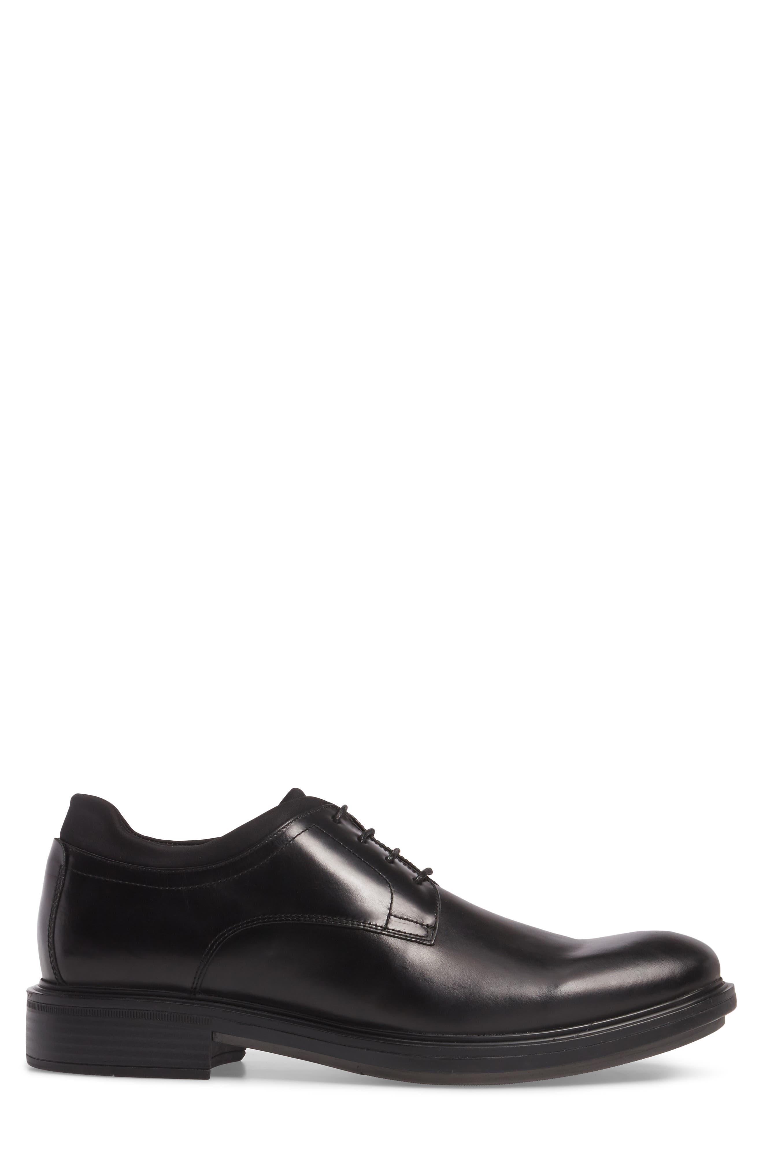 Plain Toe Derby,                             Alternate thumbnail 3, color,                             Black Leather