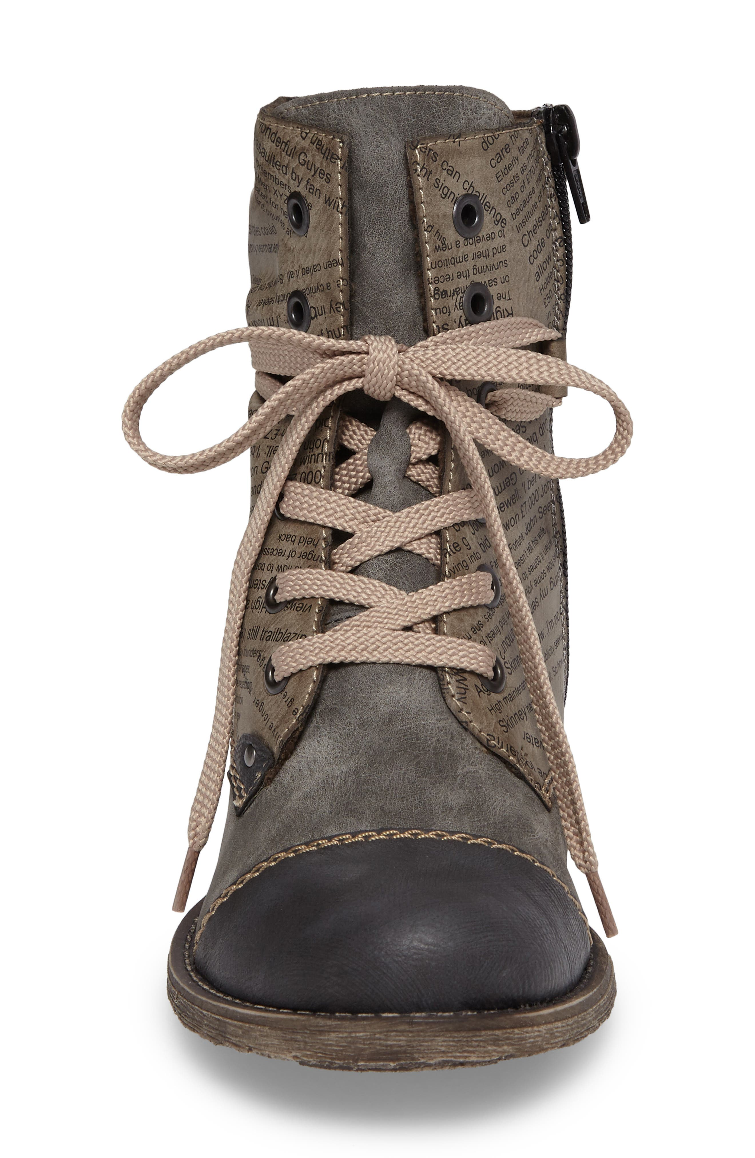 Payton 22 Lace-Up Boot,                             Alternate thumbnail 4, color,                             Smoke Faux Leather
