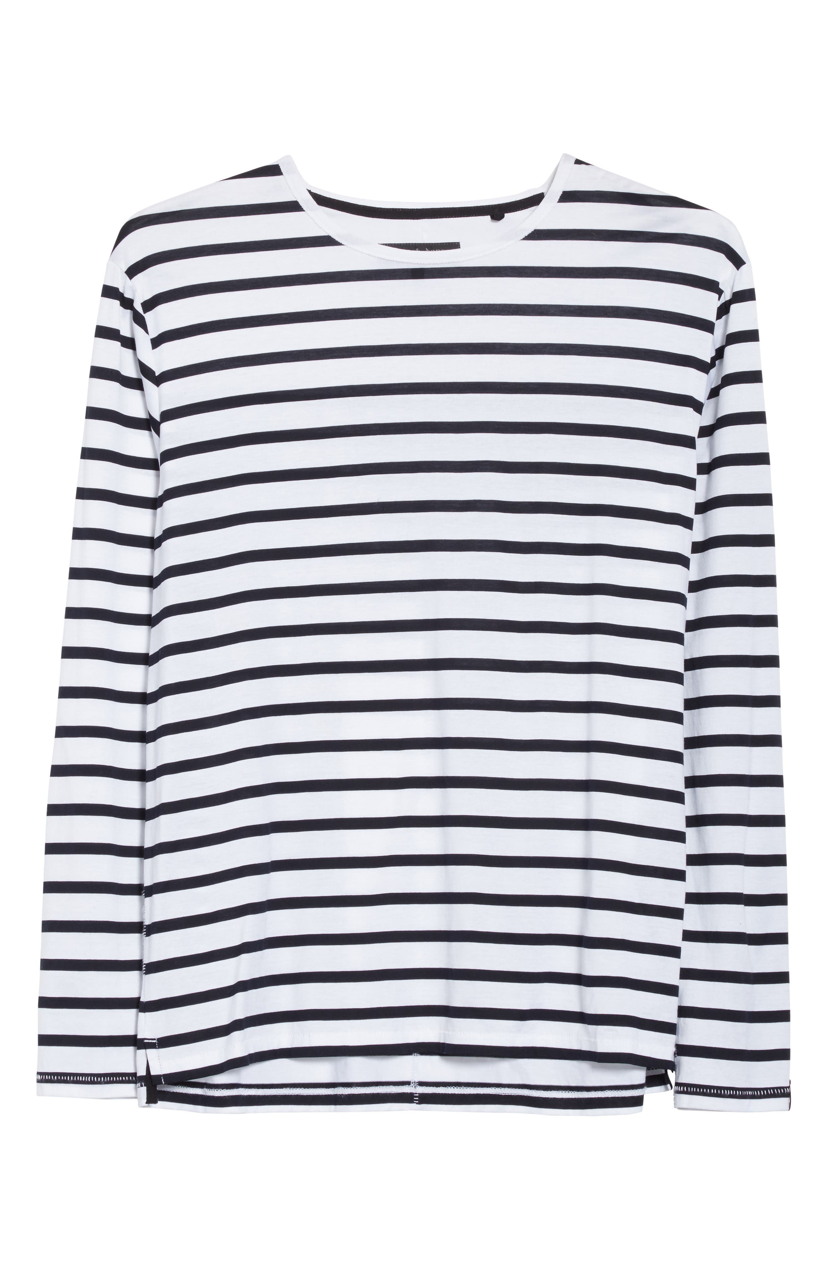 Henry Stripe Long Sleeve T-Shirt,                             Alternate thumbnail 6, color,                             White/ Navy