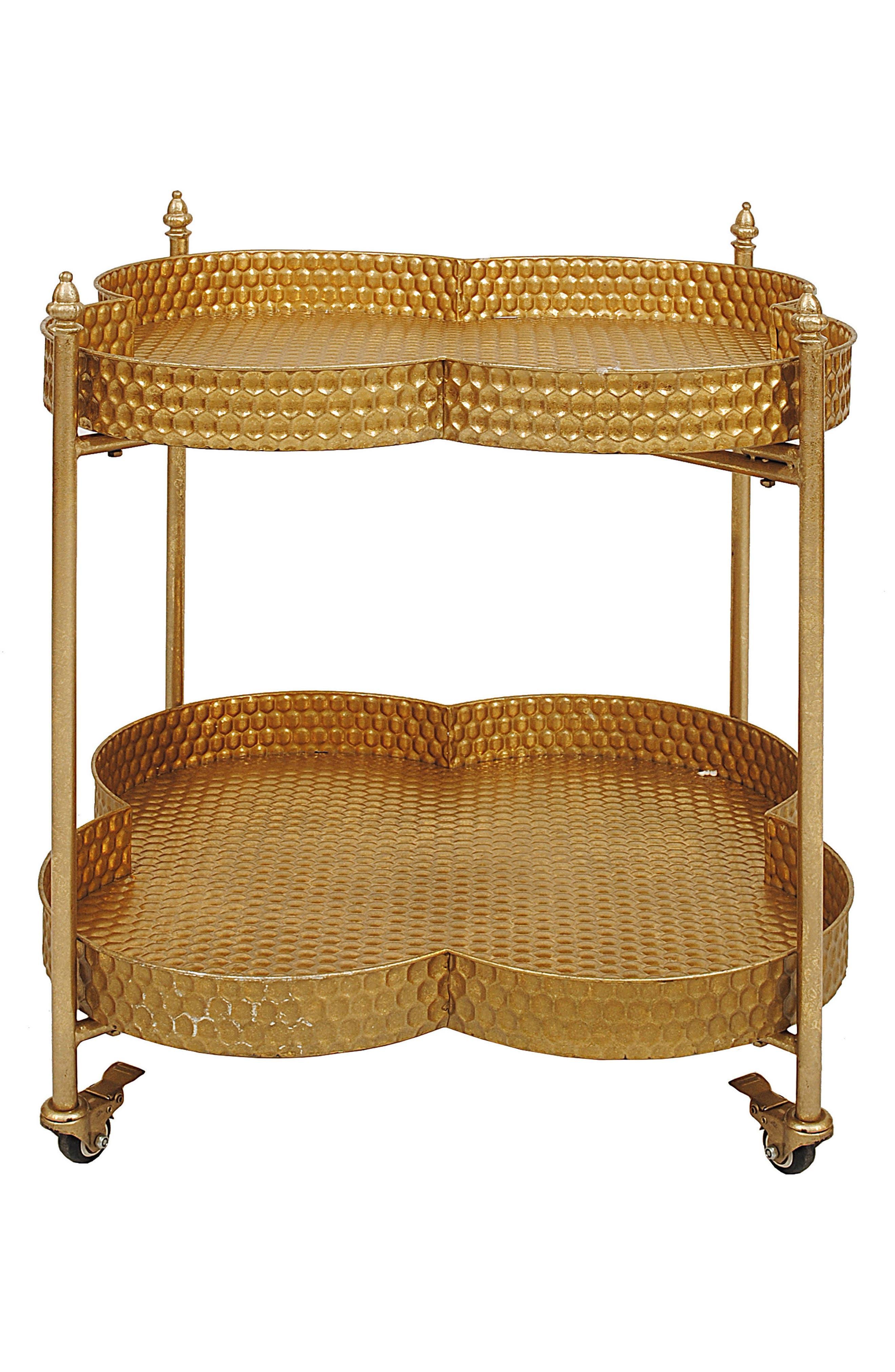 Clover Rolling 2-Tier Metal Bar Cart,                         Main,                         color, Gold