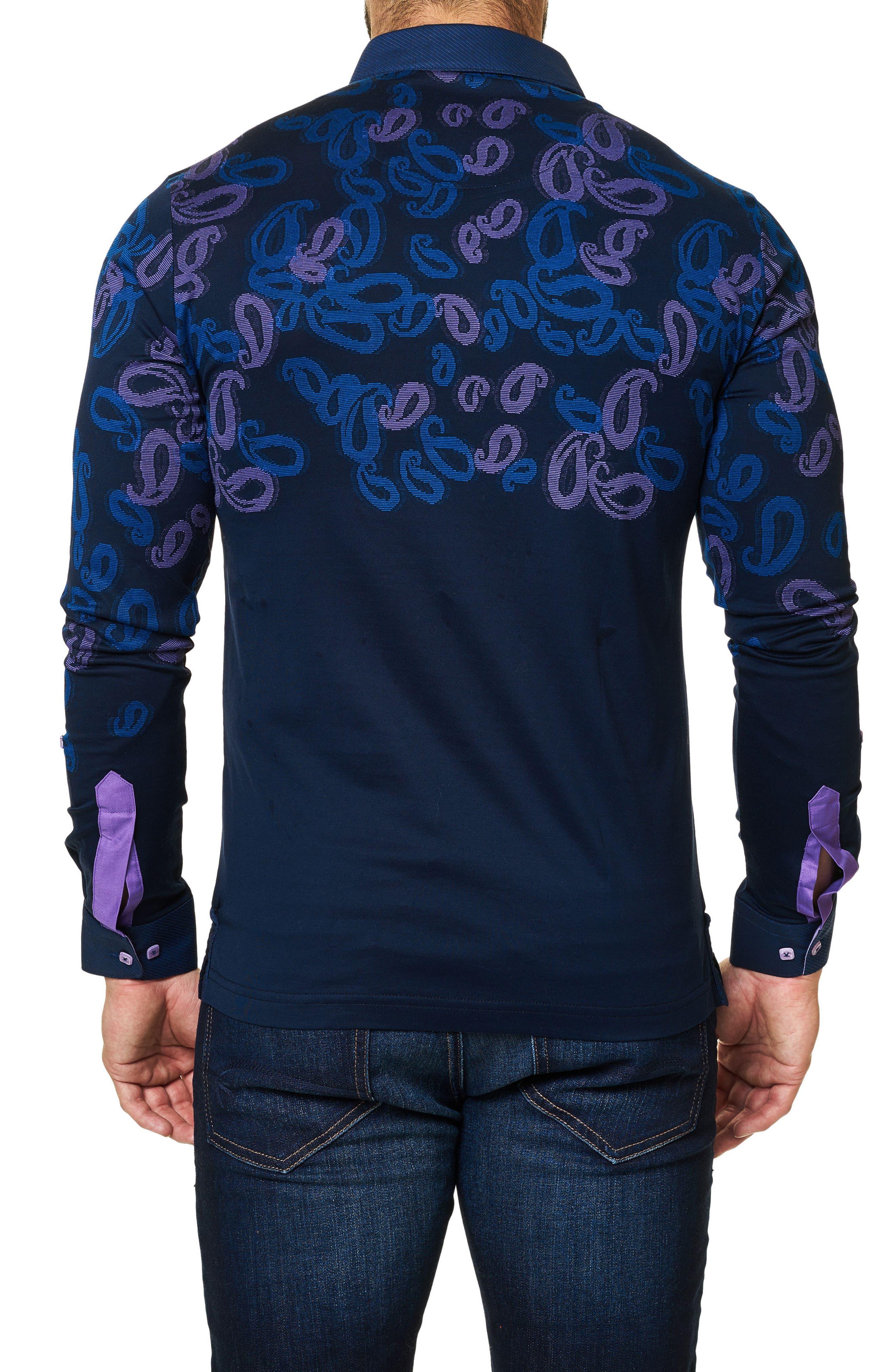 Paisley Long Sleeve Polo,                             Alternate thumbnail 2, color,                             Navy Blue