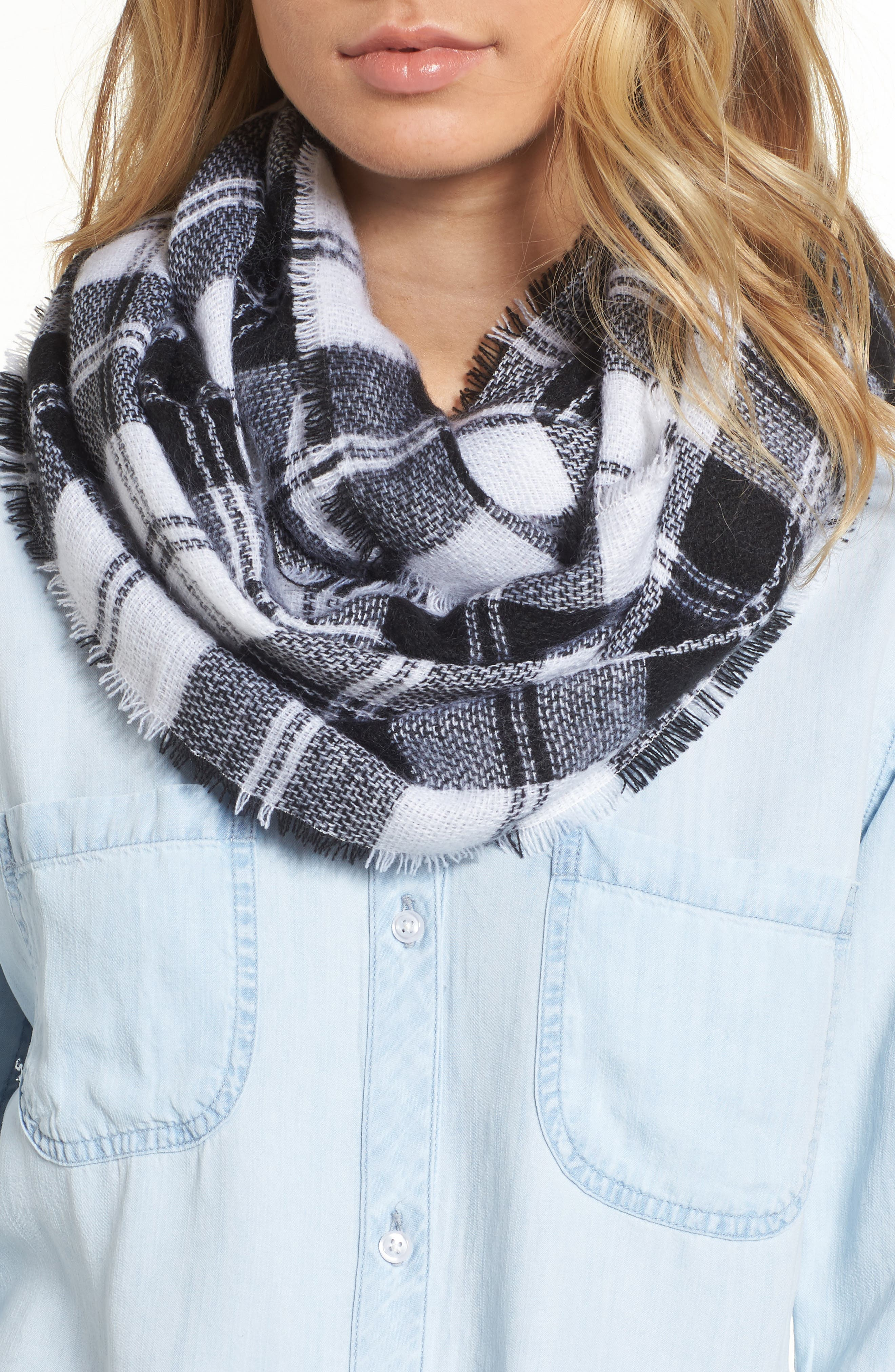 Plaid Infinity Scarf,                             Main thumbnail 1, color,                             Black