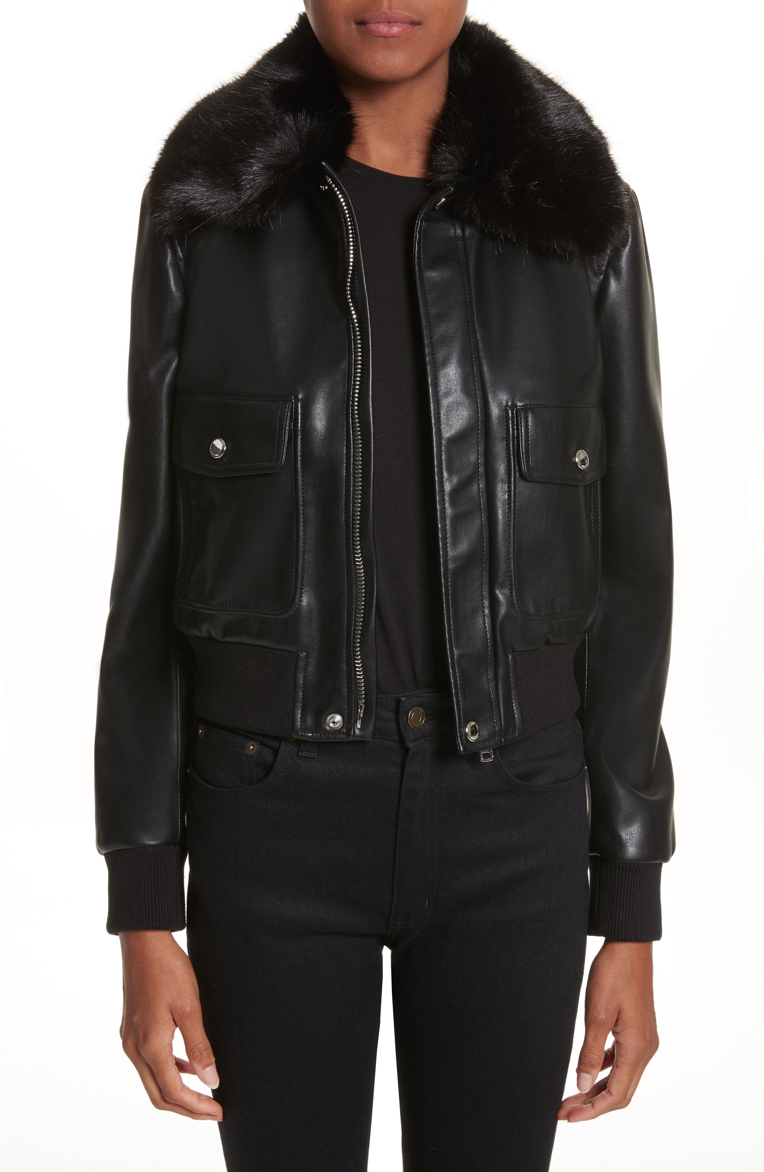Faux Leather Jacket with Faux Fur Collar,                         Main,                         color, Black