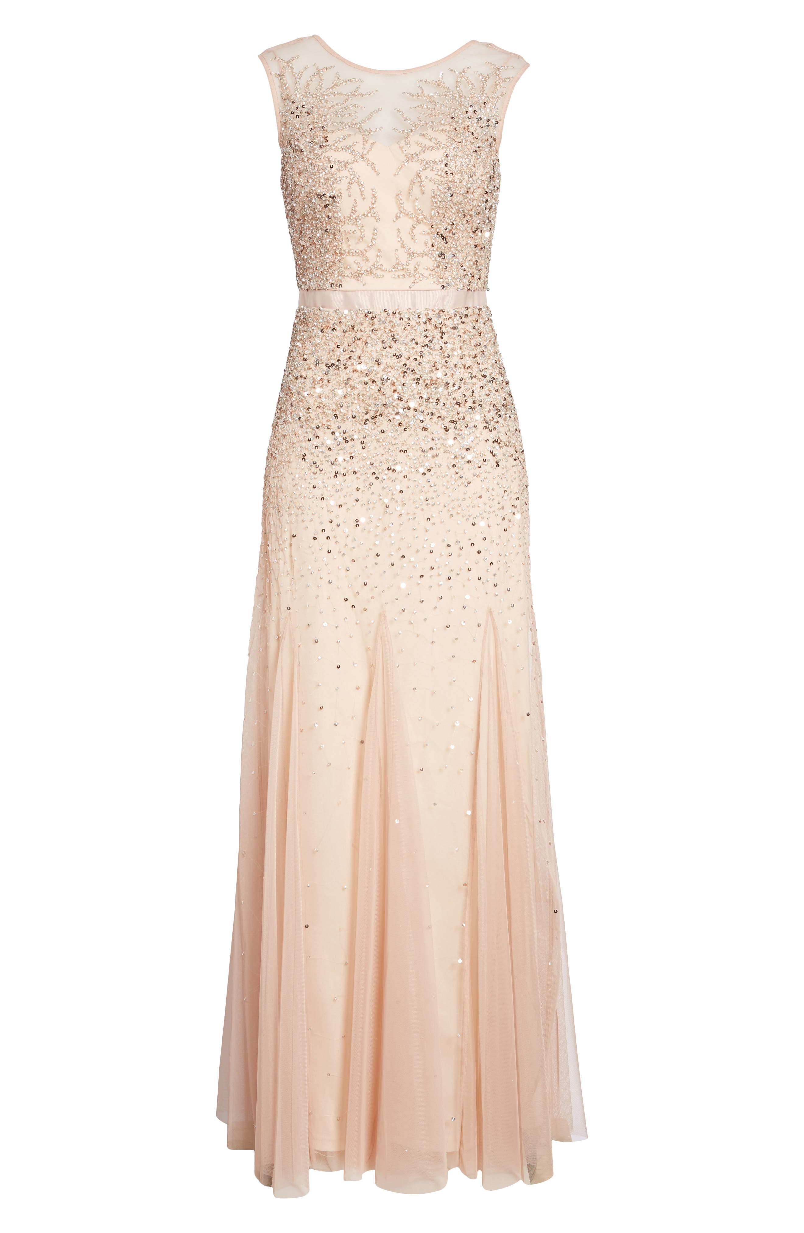 Adrianna Papell Beaded Chiffon Gown (Regular & Petite)