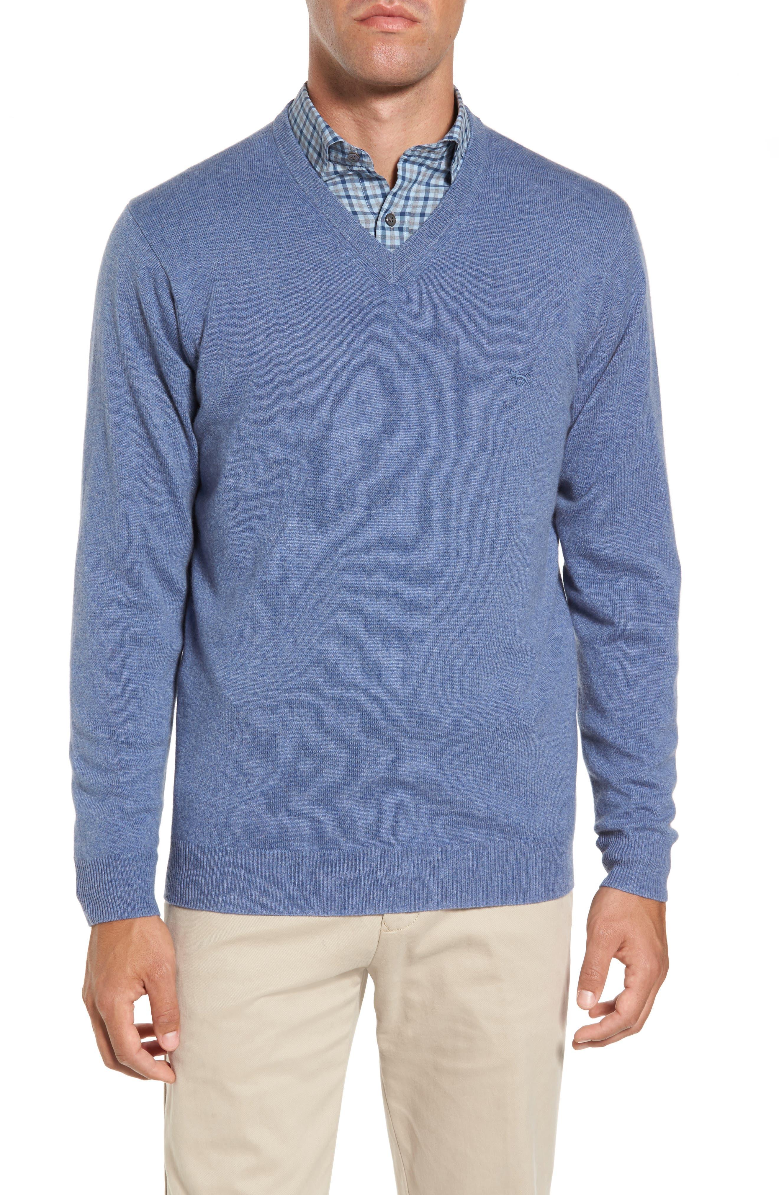 'Inchbonnie' Wool & Cashmere V-Neck Sweater,                         Main,                         color, Bluestone