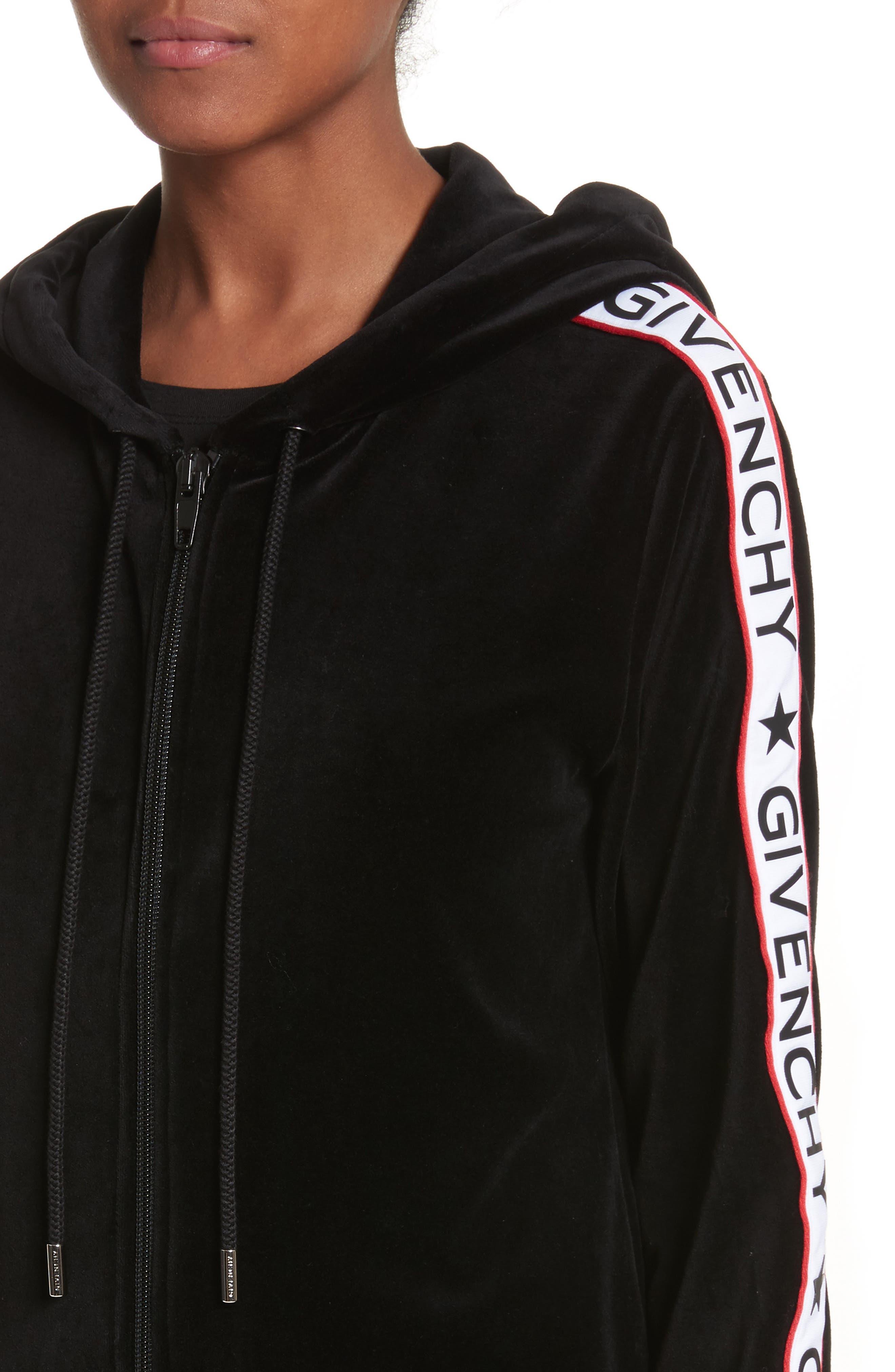Main Image - Givenchy Logo Stripe Velvet Hoodie