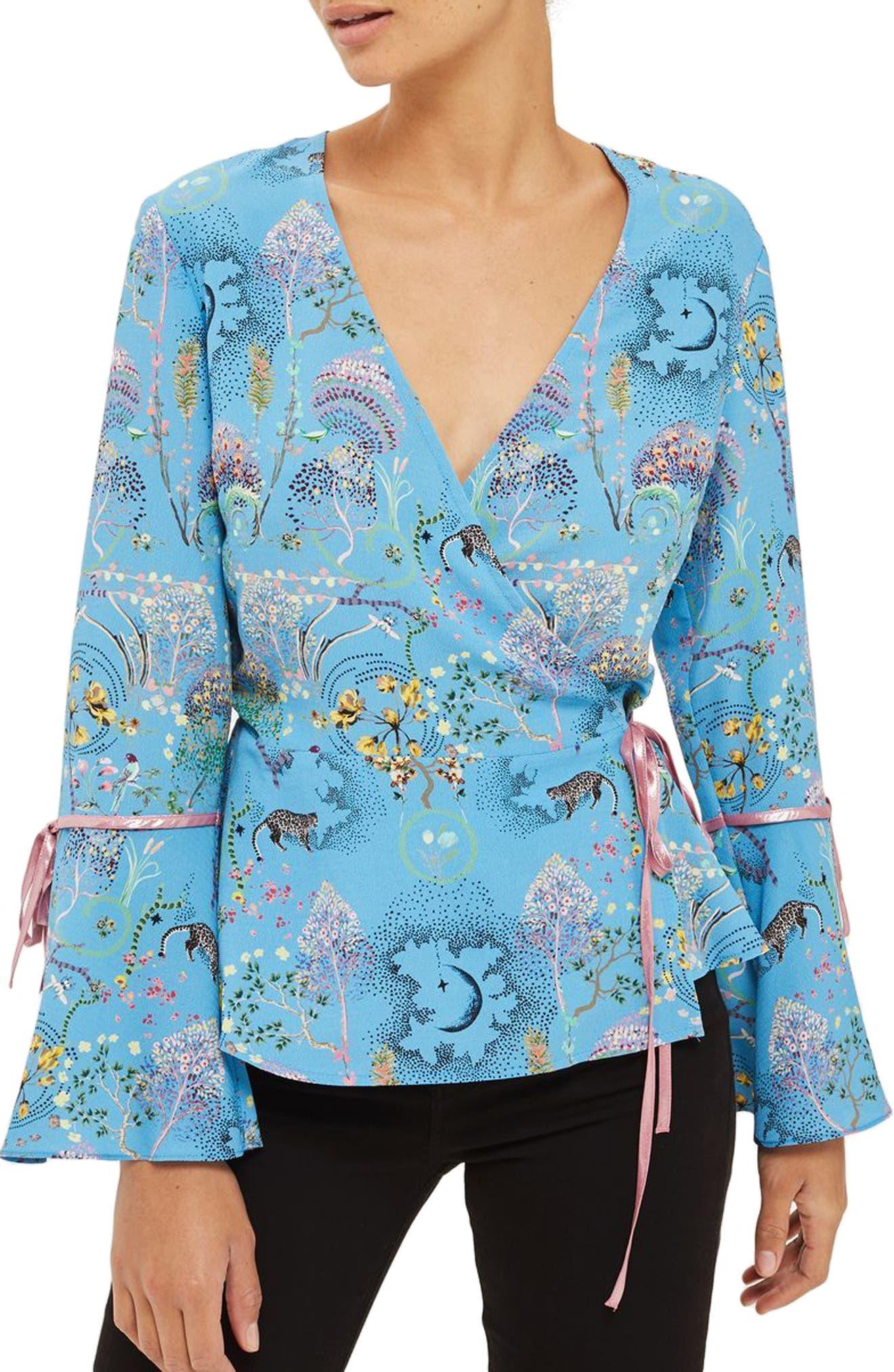 Magical Leopard Print Wrap Blouse,                         Main,                         color, Blue Multi