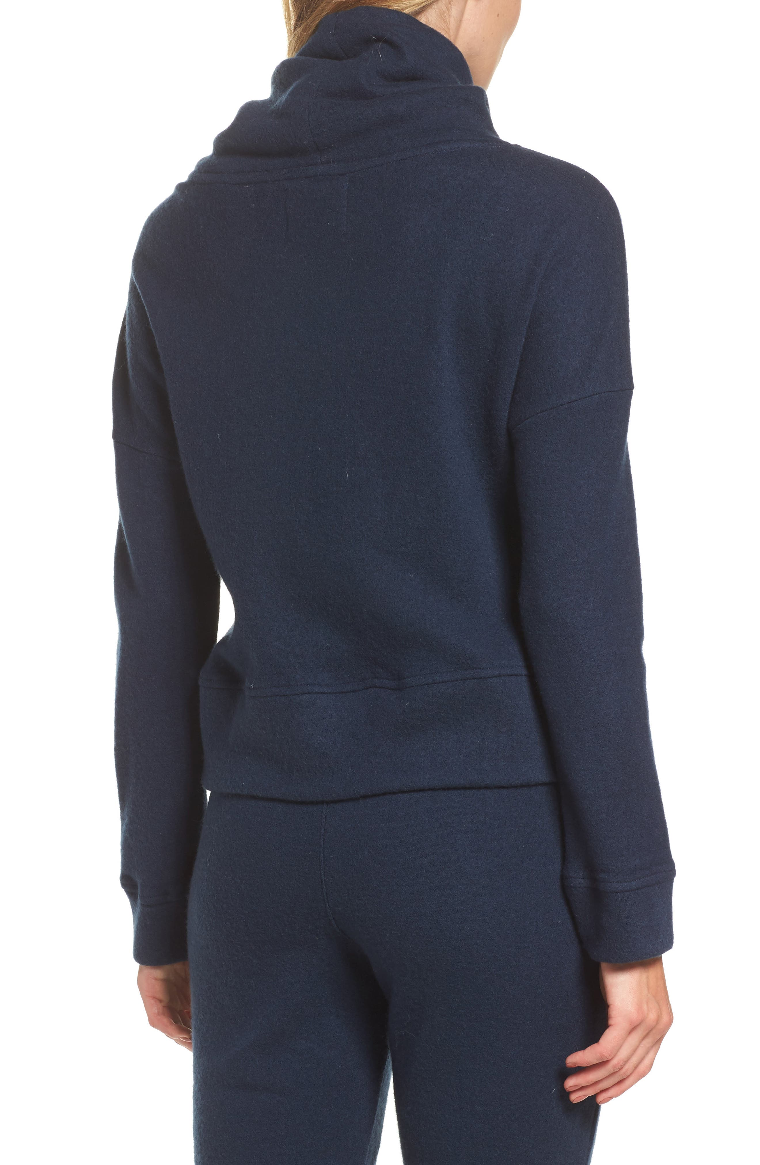 Funnel Neck Crop Merino Wool Sweatshirt,                             Alternate thumbnail 2, color,                             Navy Heather
