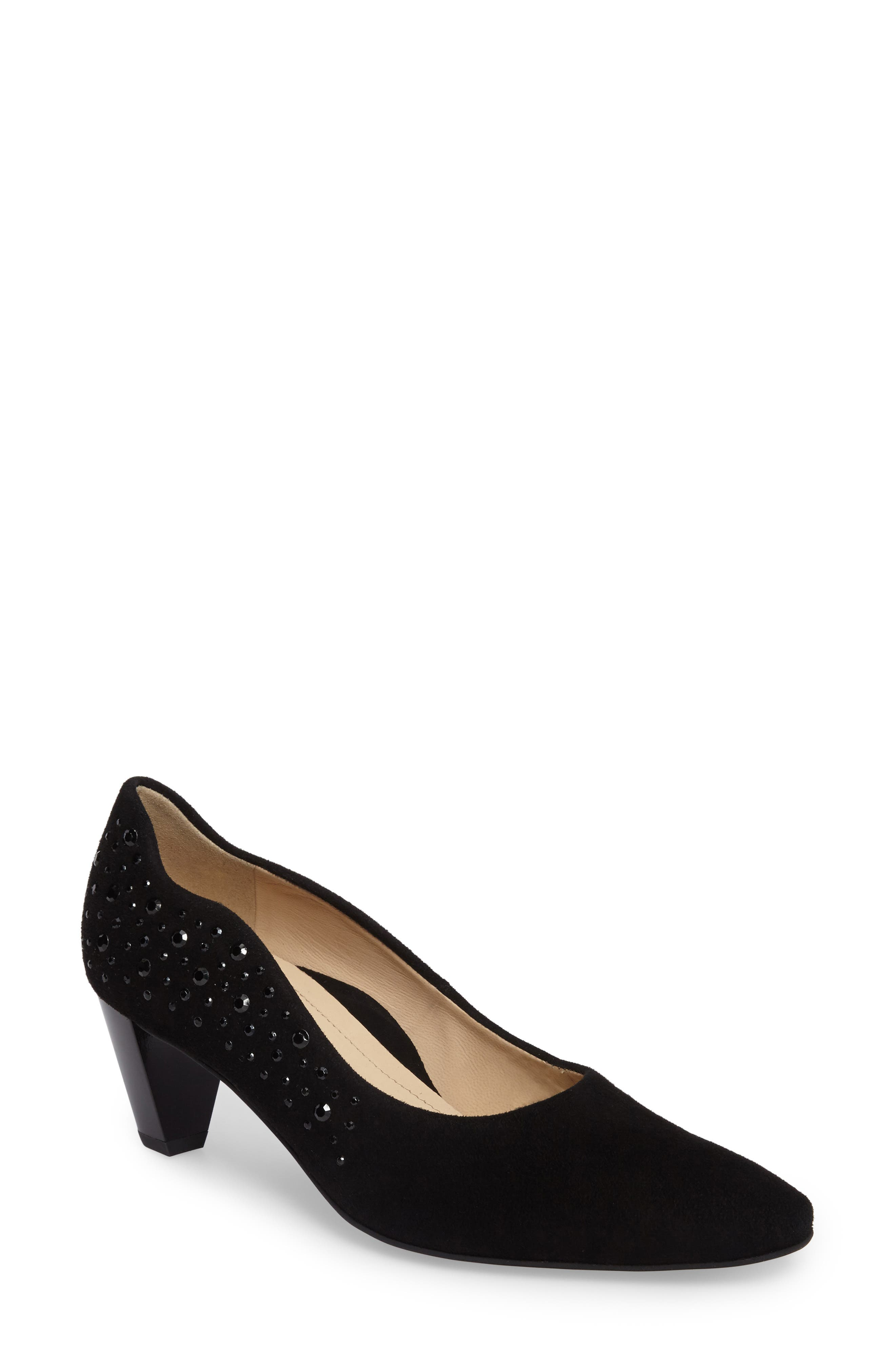 Pippa Crystal Embellished Pump,                             Main thumbnail 1, color,                             Black Suede