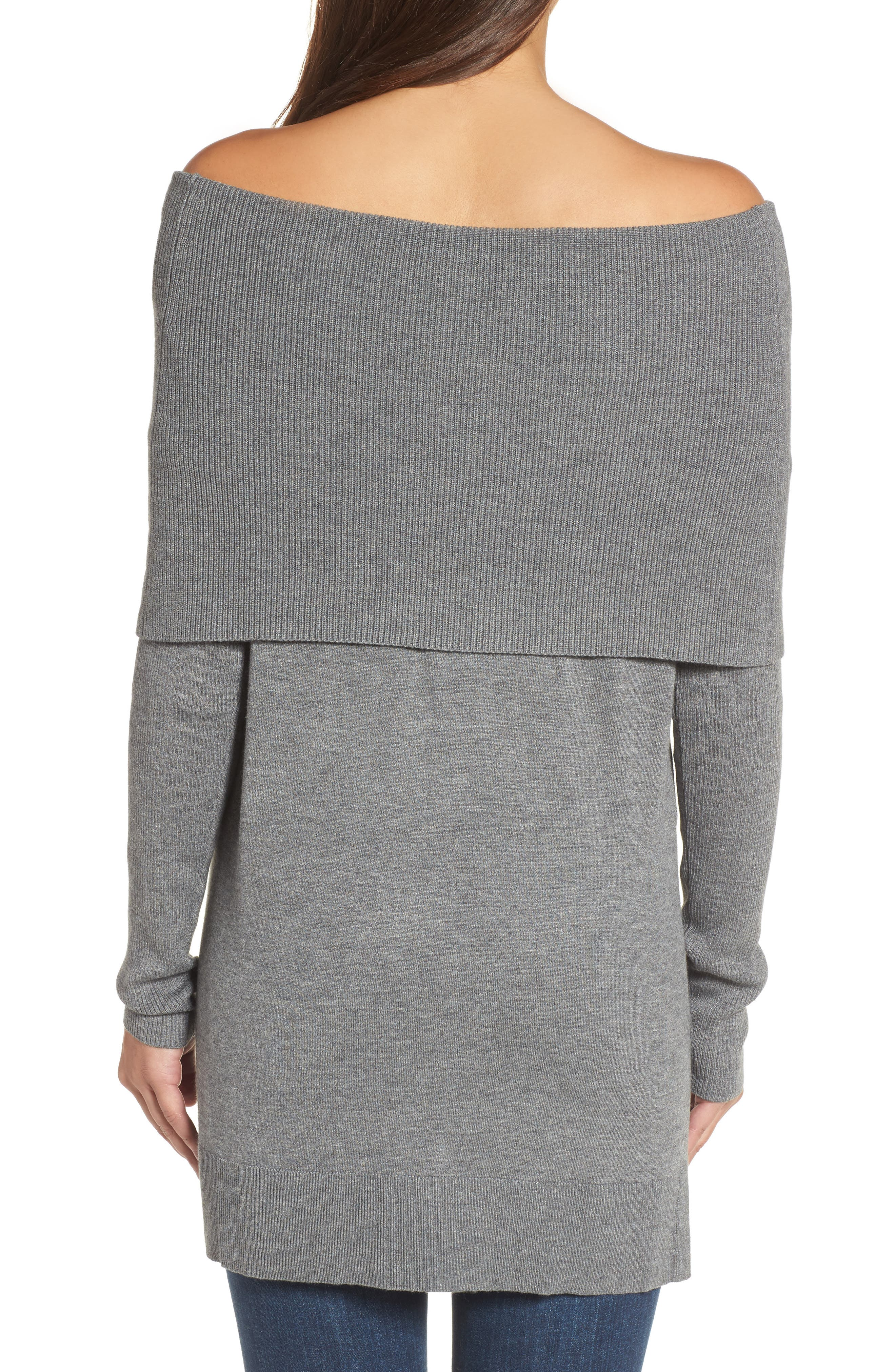 Side Slit Cowl Neck Tunic,                             Alternate thumbnail 2, color,                             Heather Dark Grey