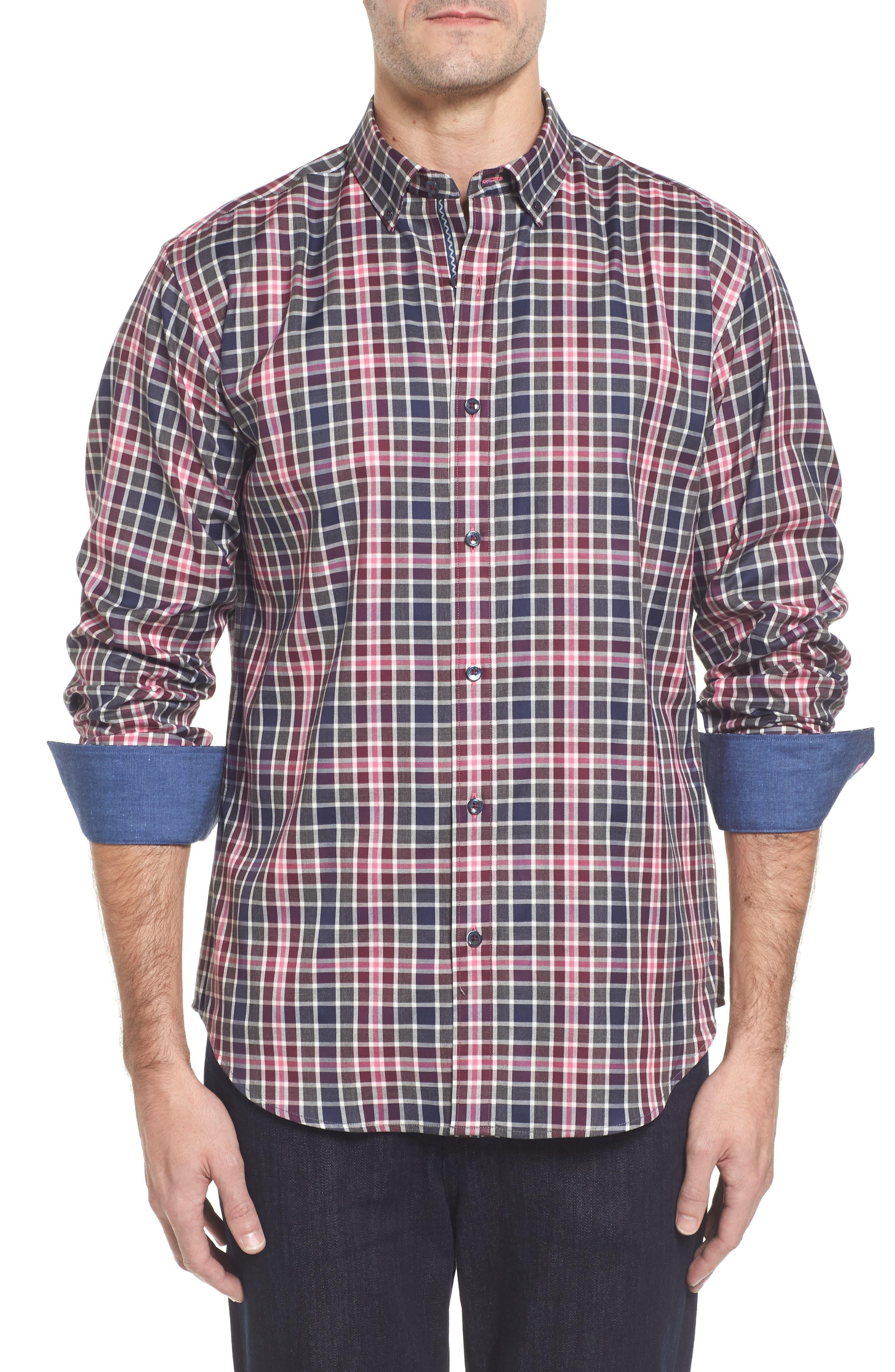 Shaped Fit Plaid Sport Shirt,                         Main,                         color, Wine