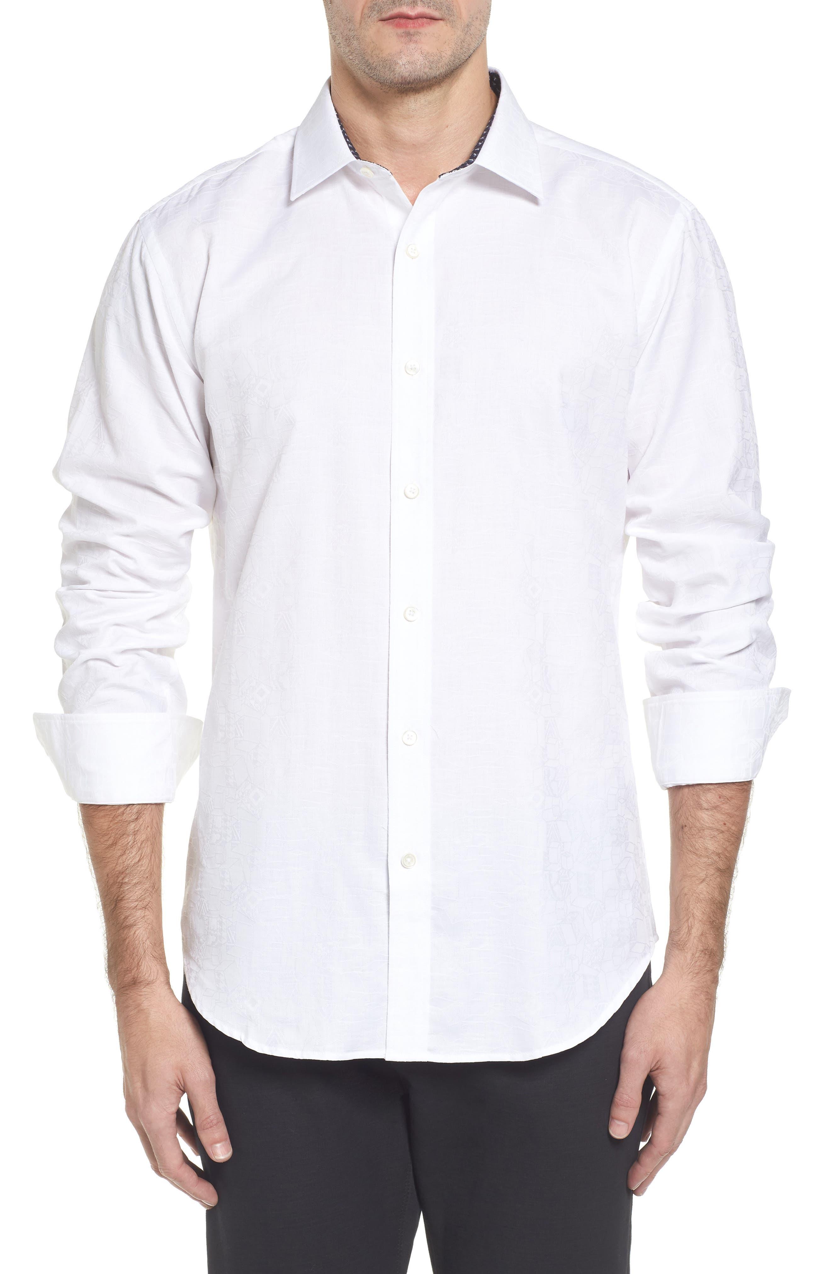 Classic Fit Jacquard Sport Shirt,                             Main thumbnail 1, color,                             White