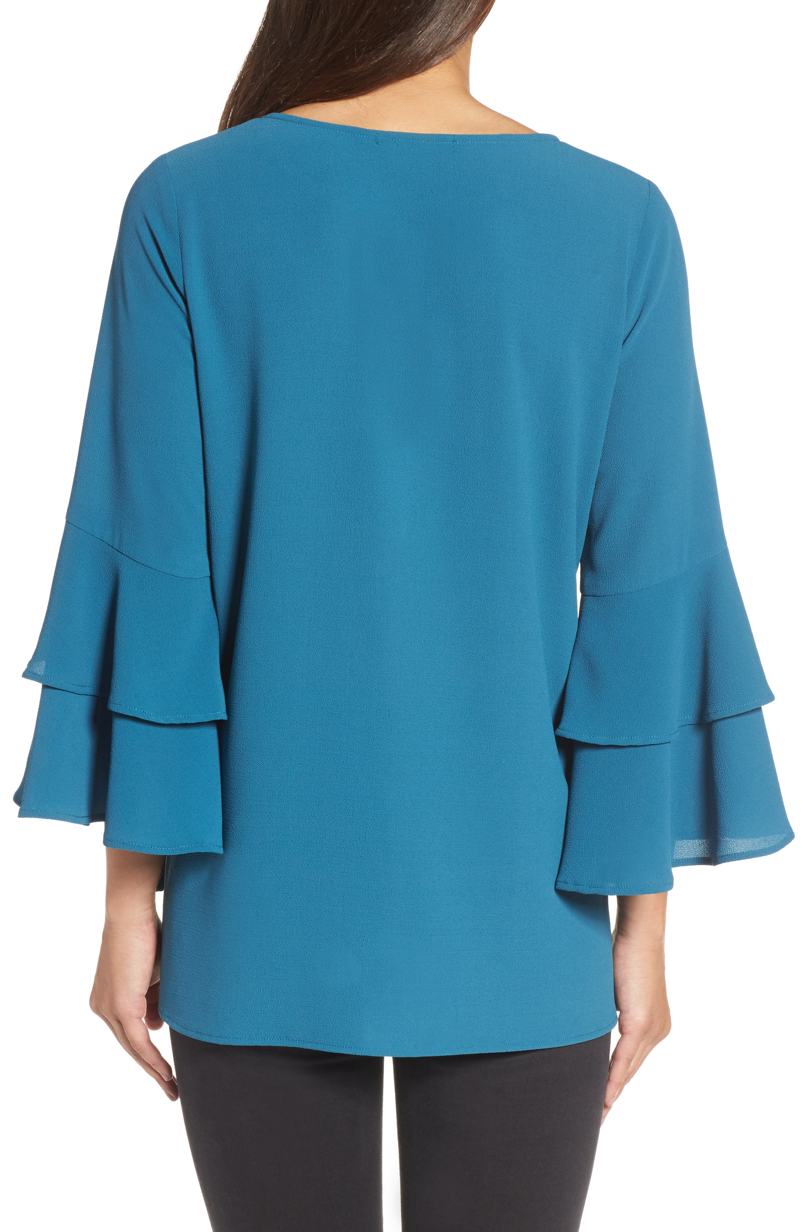 Ruffle Bell Sleeve High/Low Tunic,                             Alternate thumbnail 2, color,                             Peacock Teal