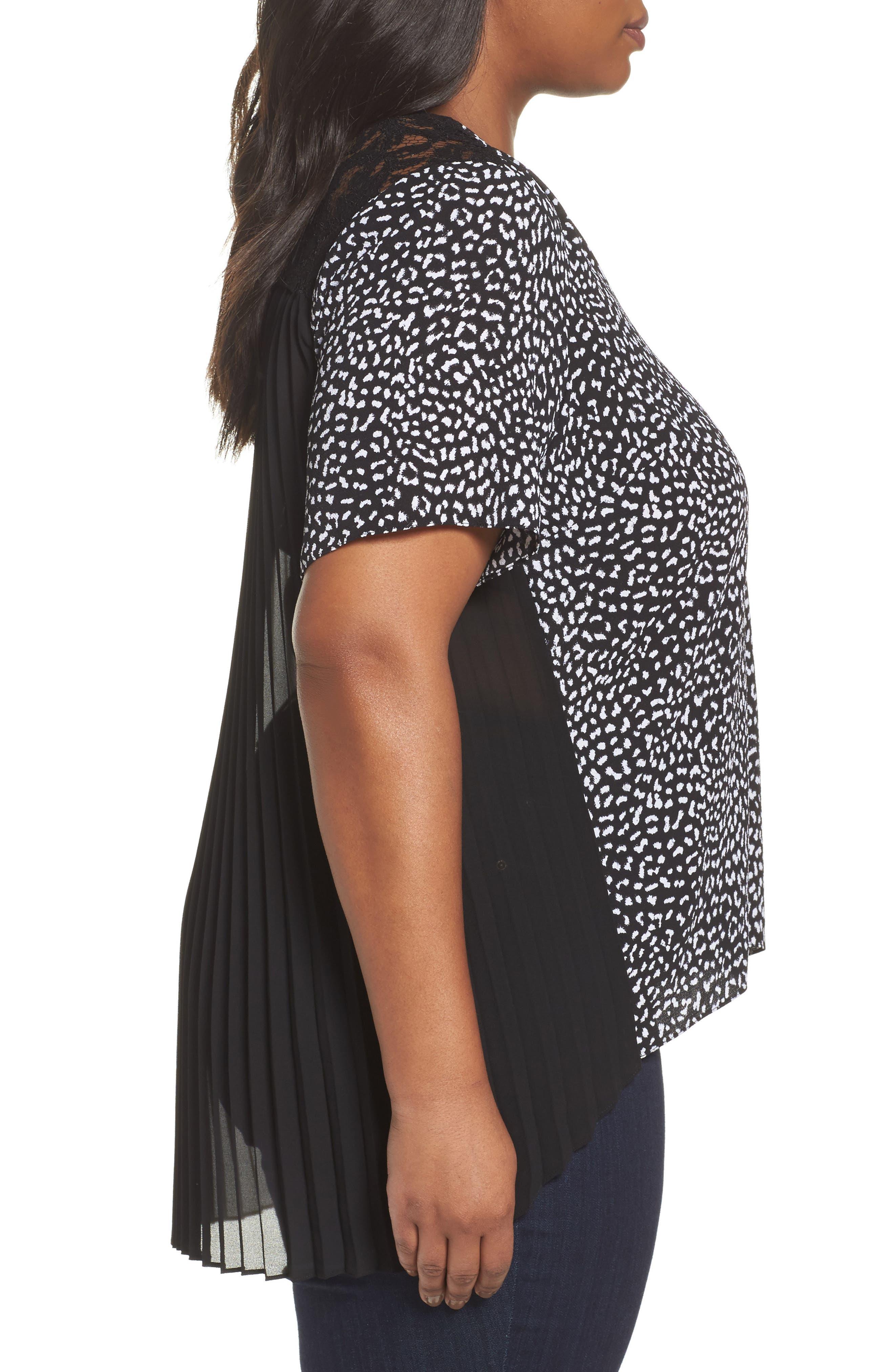 Alternate Image 3  - MICHAEL Michael Kors Lace Yoke Pleated Back Top (Plus Size)
