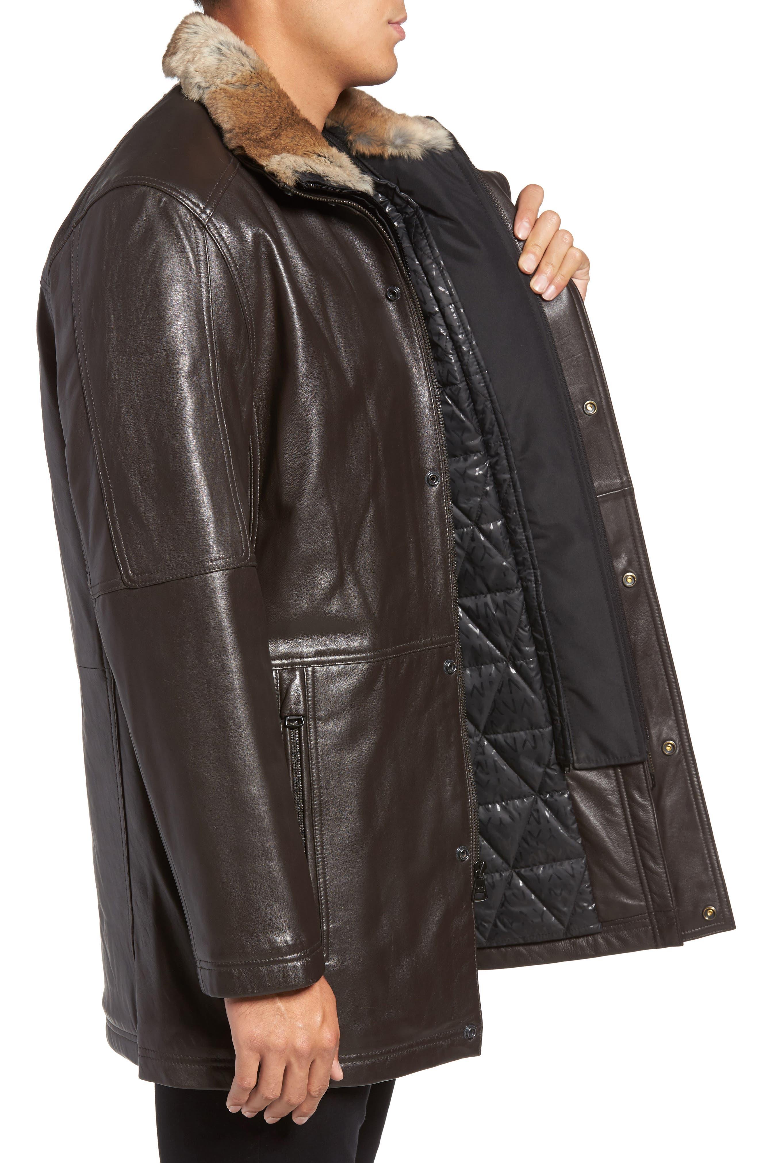 Middlebury Leather Car Coat with Genuine Rabbit Fur Trim,                             Alternate thumbnail 3, color,                             Espresso