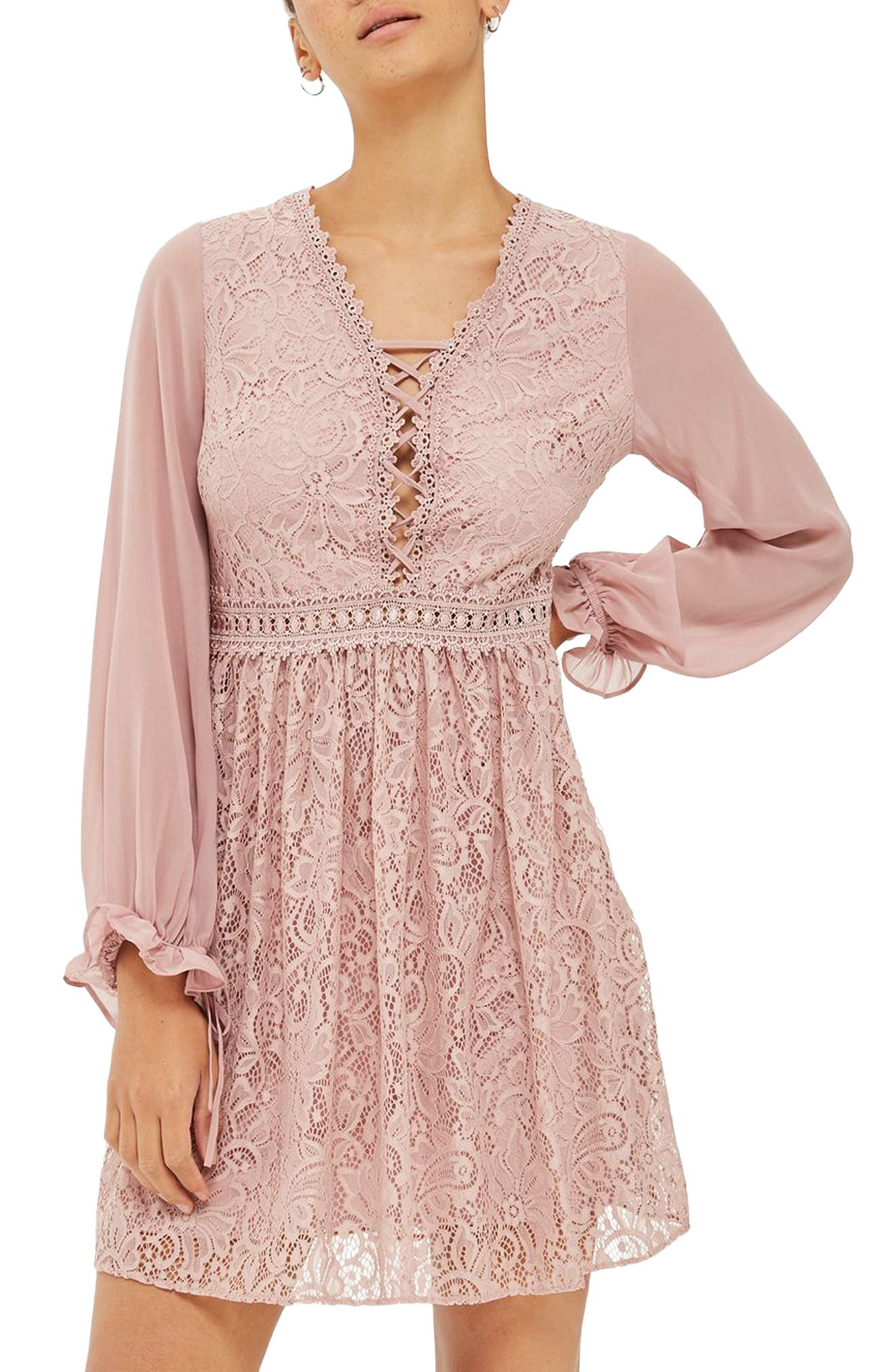 Laced Back Minidress,                         Main,                         color, Dusty Pink