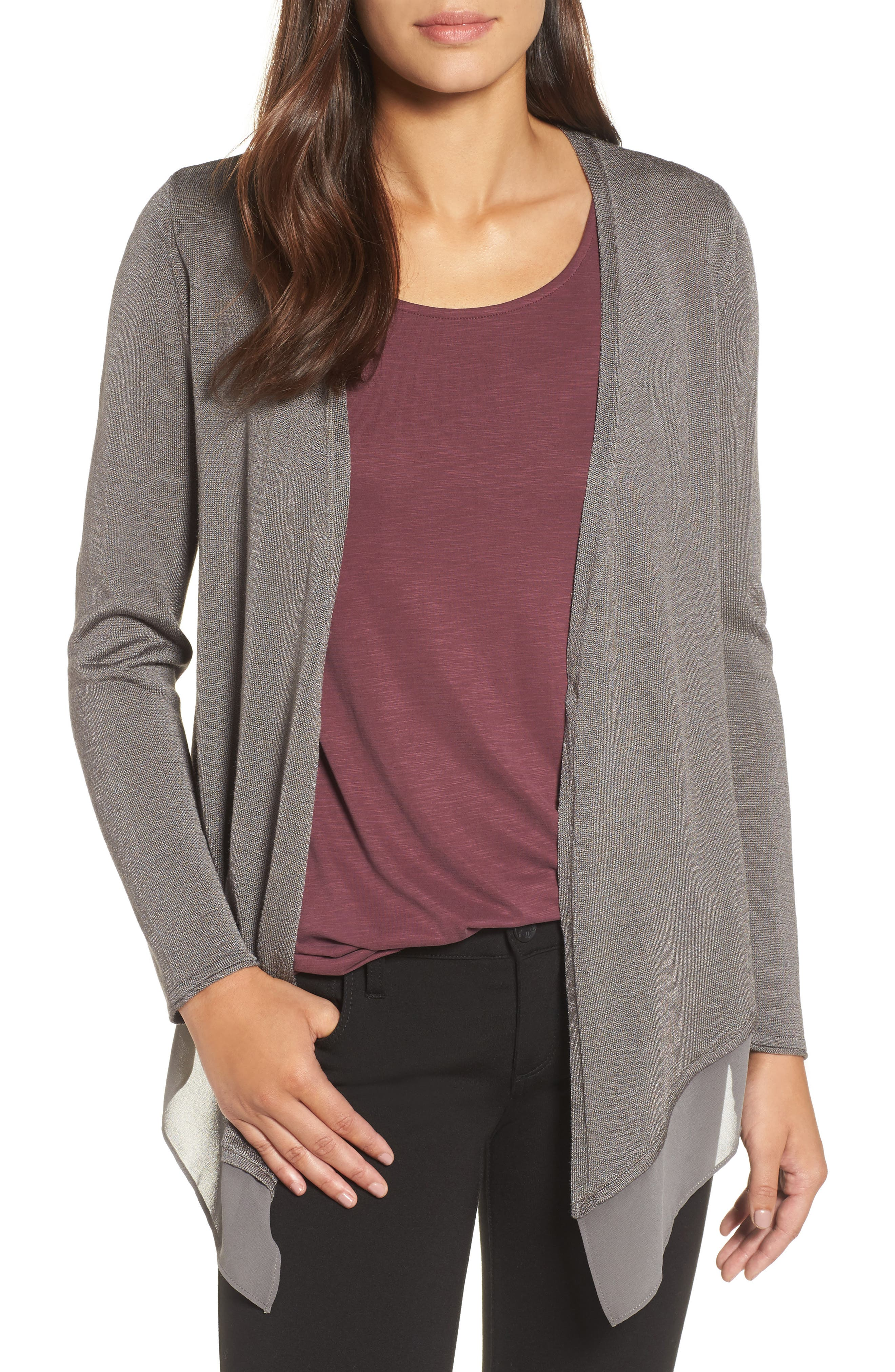 Paired Up Silk Blend Cardigan,                             Main thumbnail 1, color,                             Warm Grey