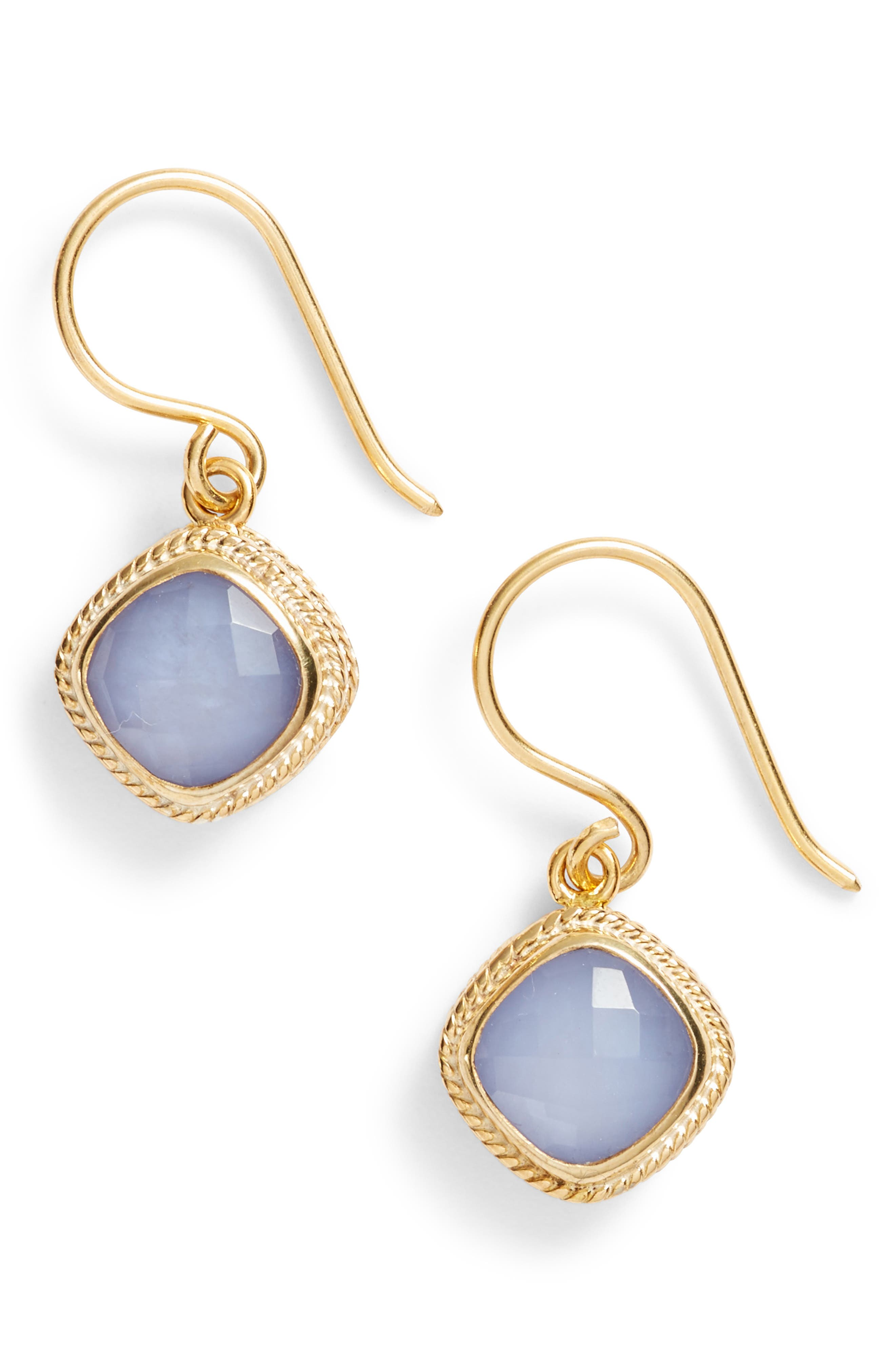 Drop Earrings,                         Main,                         color, Gold/ Blue Chalcedony