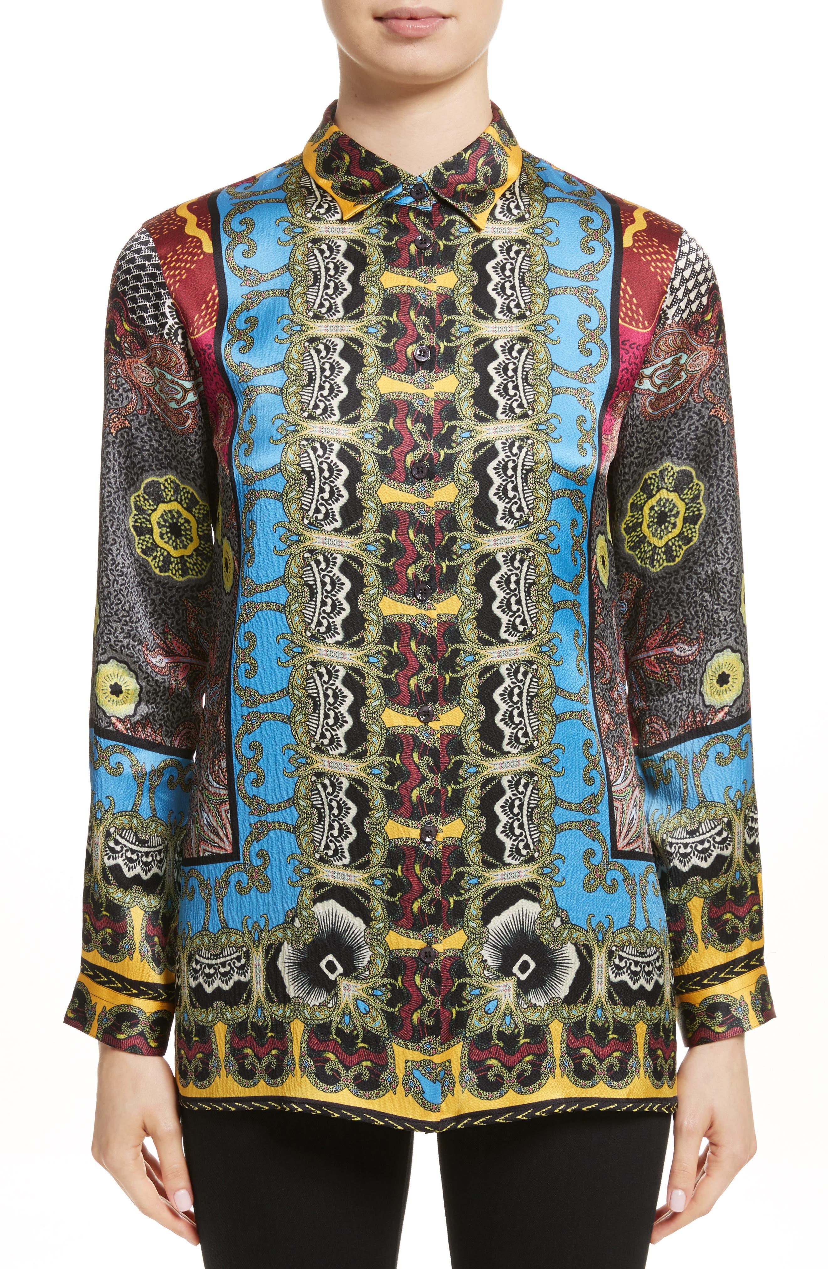 Print Hammered Silk Shirt,                         Main,                         color, Multi