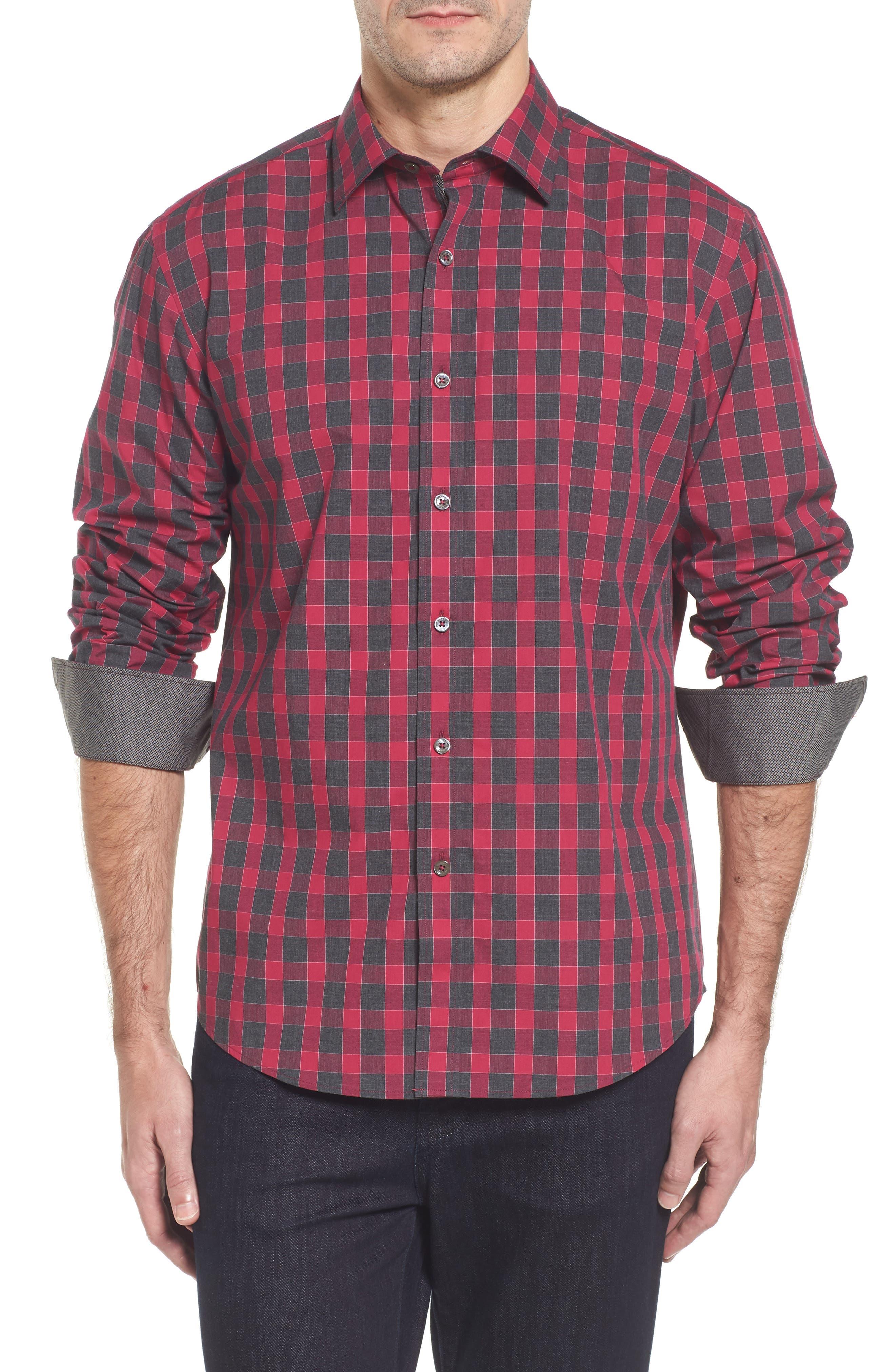 Slim Fit Check Sport Shirt,                         Main,                         color, Fuchsia