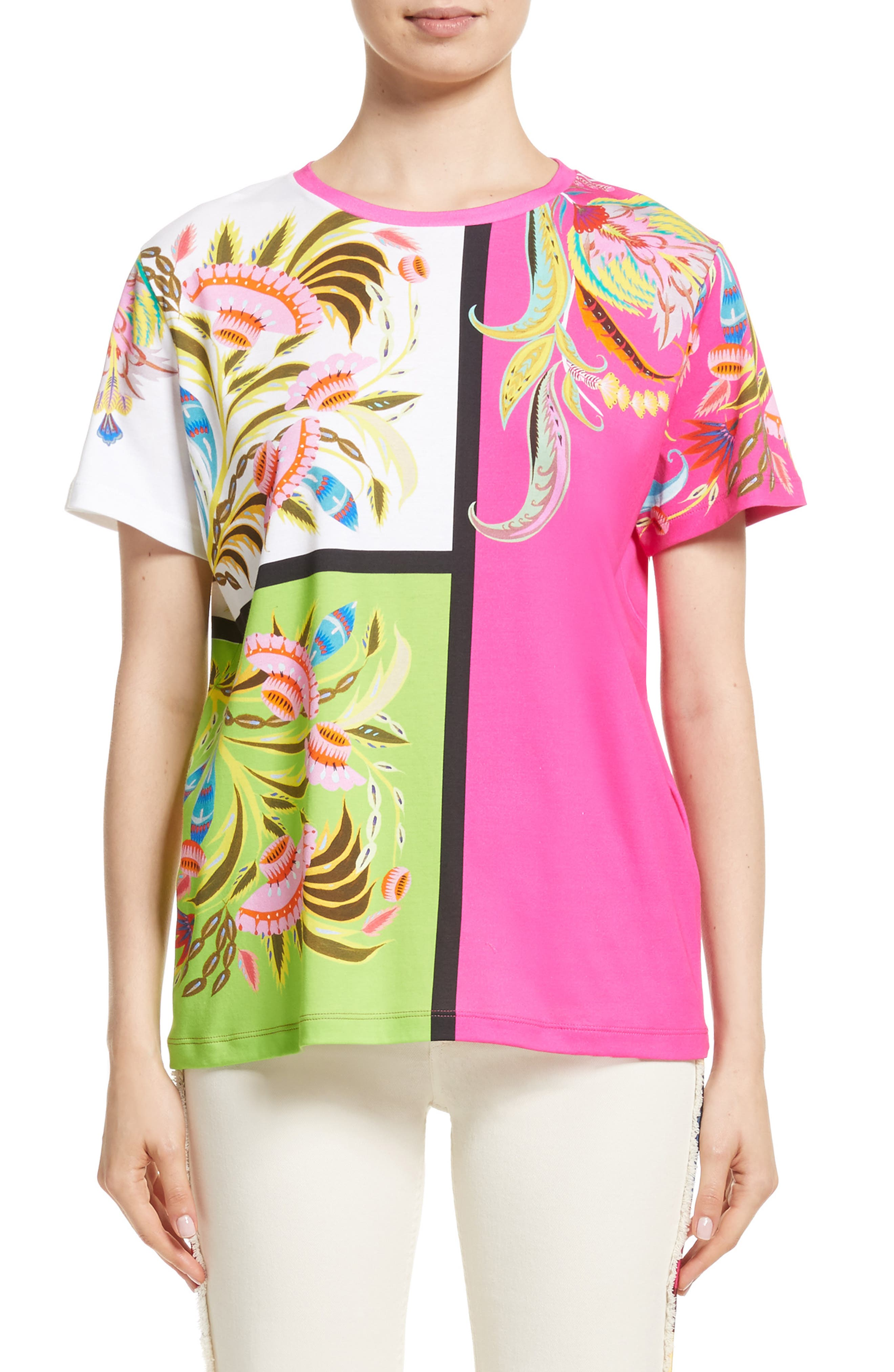 Etro Colorblock Floral Print Tee