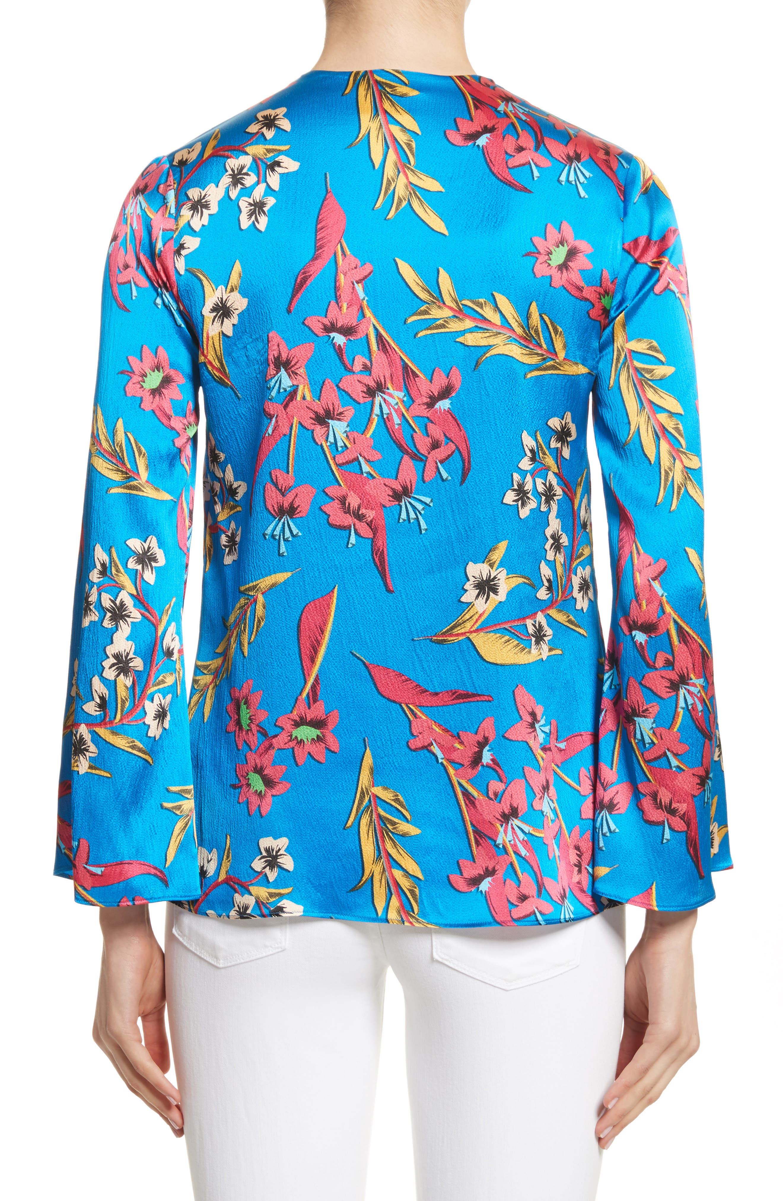 Alternate Image 2  - Etro Jungle Floral Print Silk Blouse