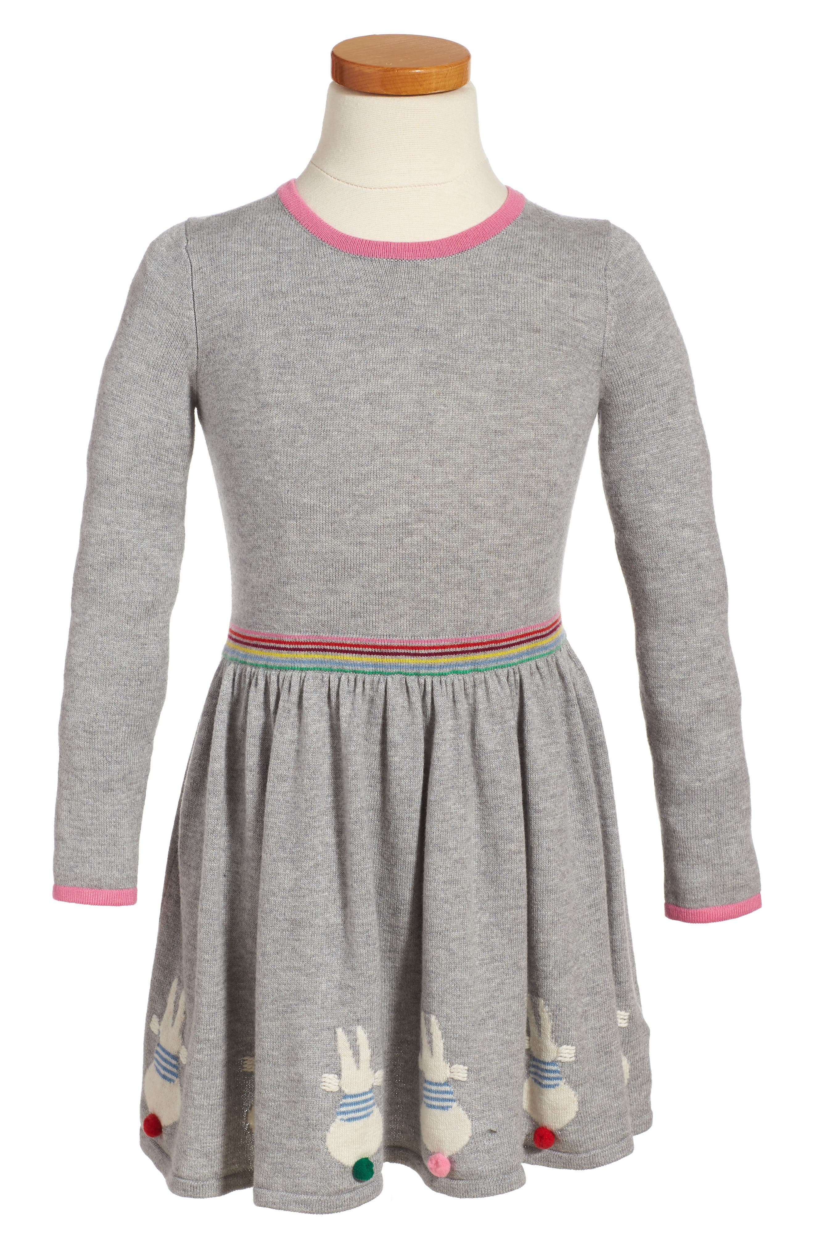 MIni Boden Bunny Sweater Dress (Toddler Girls, Little Girls & Big Girls)