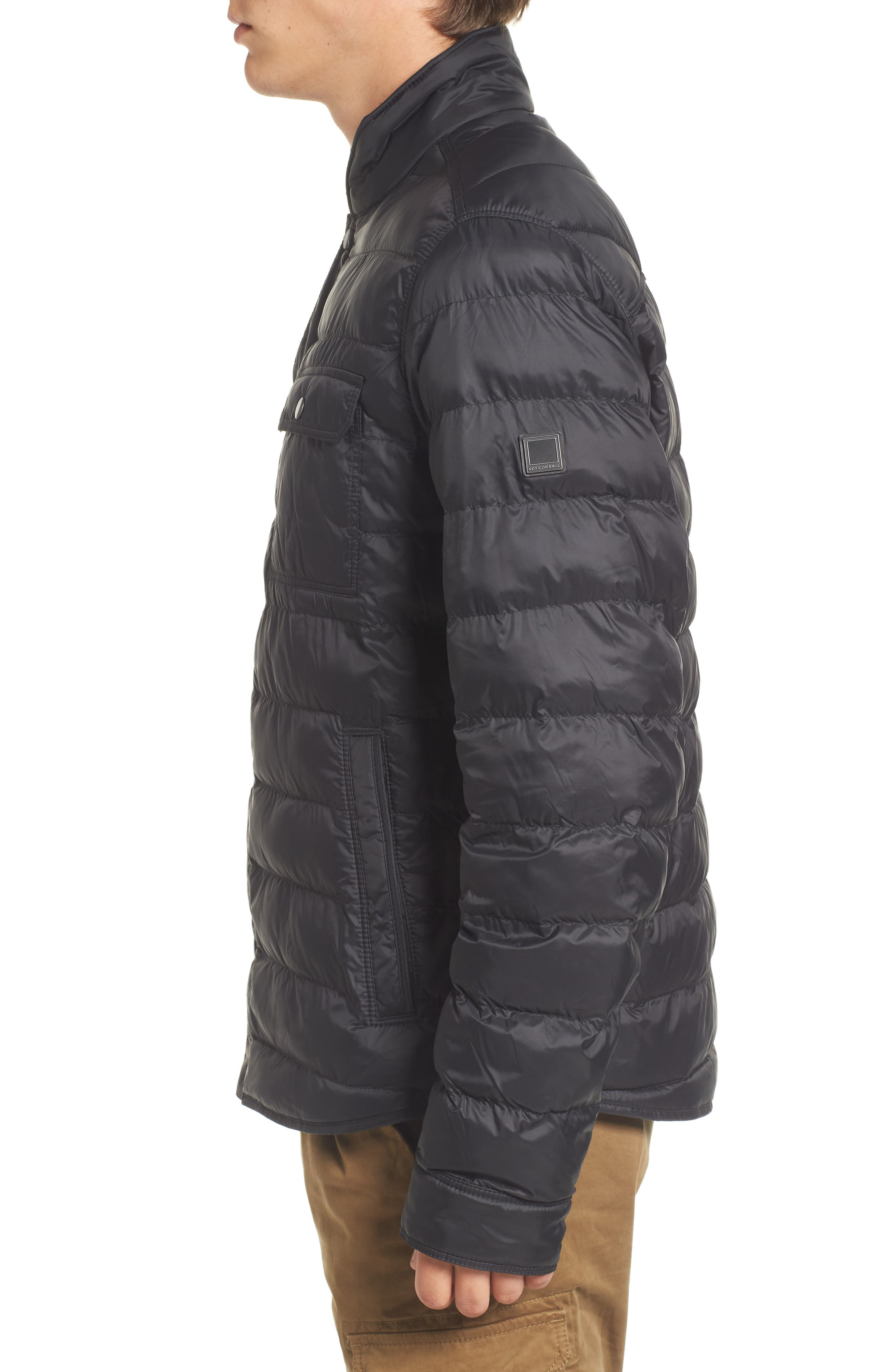 Orin Water Repellent Quilted Jacket,                             Alternate thumbnail 3, color,                             Black