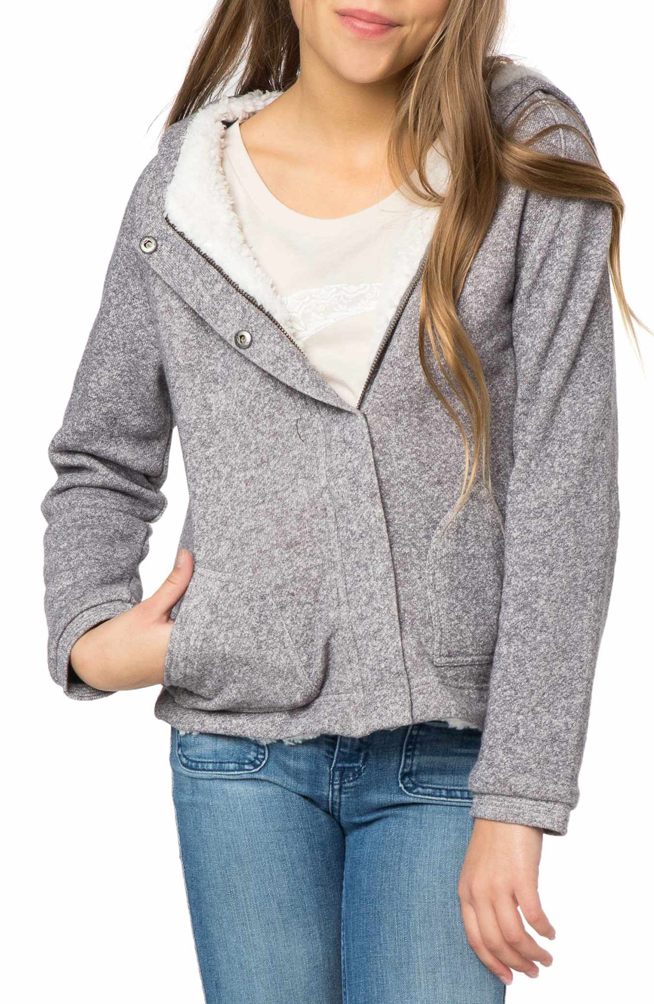 Main Image - O'Neill Lorie Faux Fur Lined Hoodie (Big Girls)