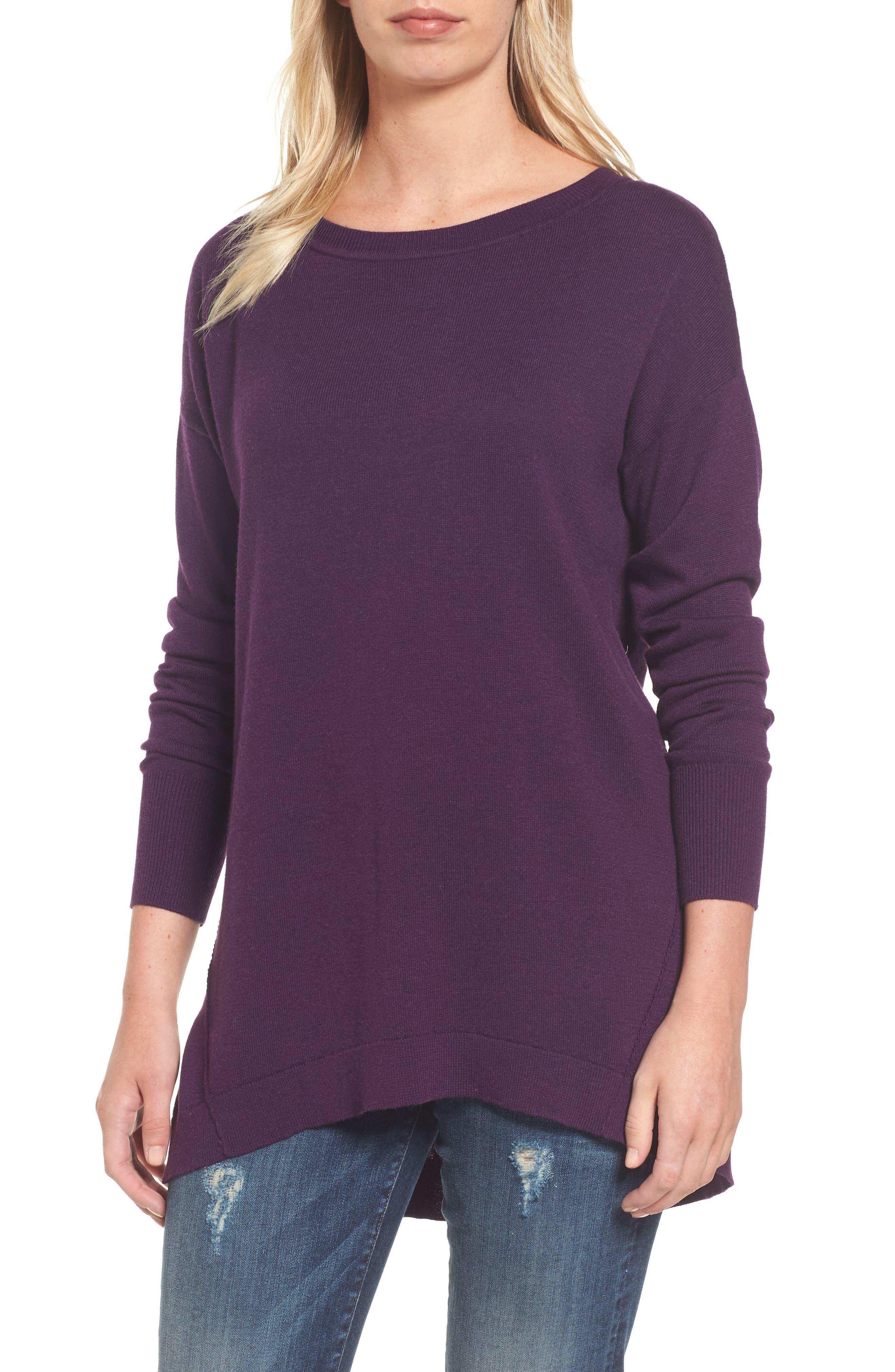 Caslon® Zip Back High/Low Tunic Sweater (Regular & Petite)