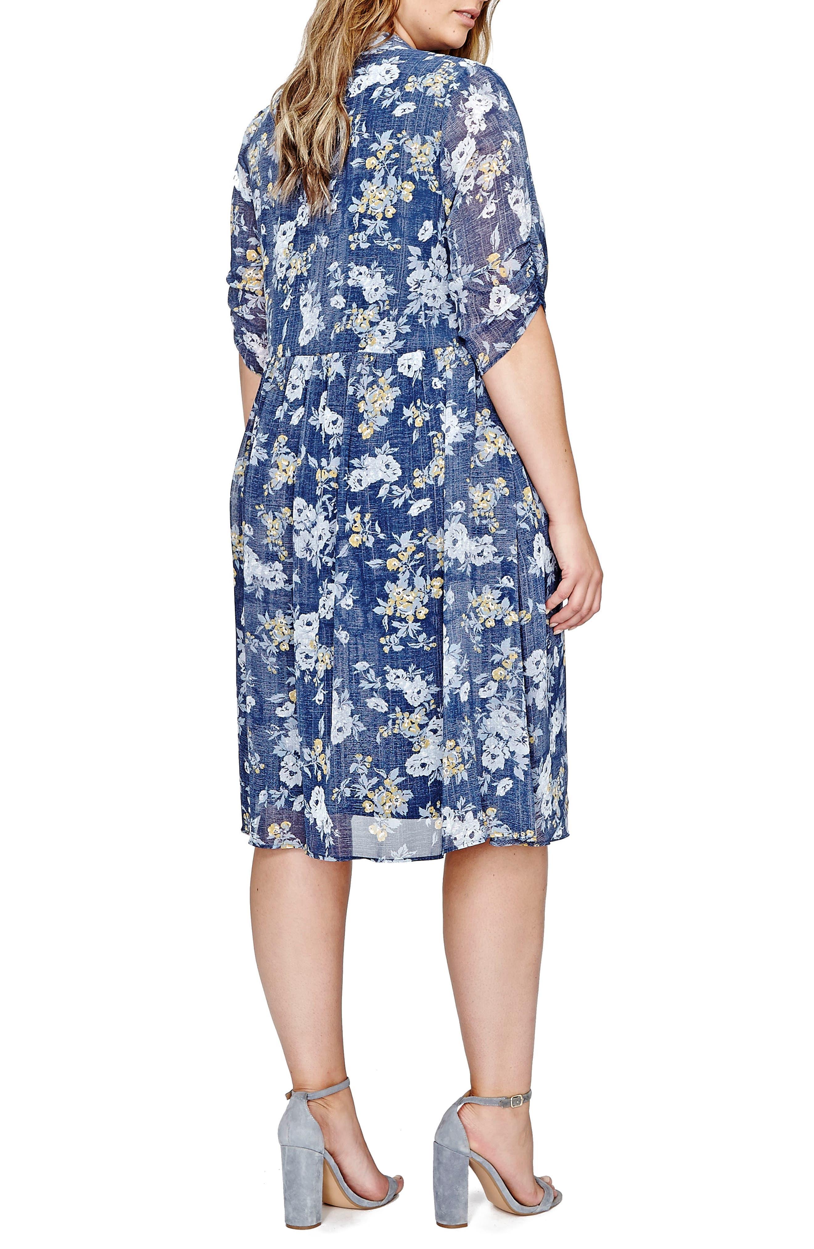 Alternate Image 2  - Michel Studio Tie Neck Floral Shift Dress (Plus Size)