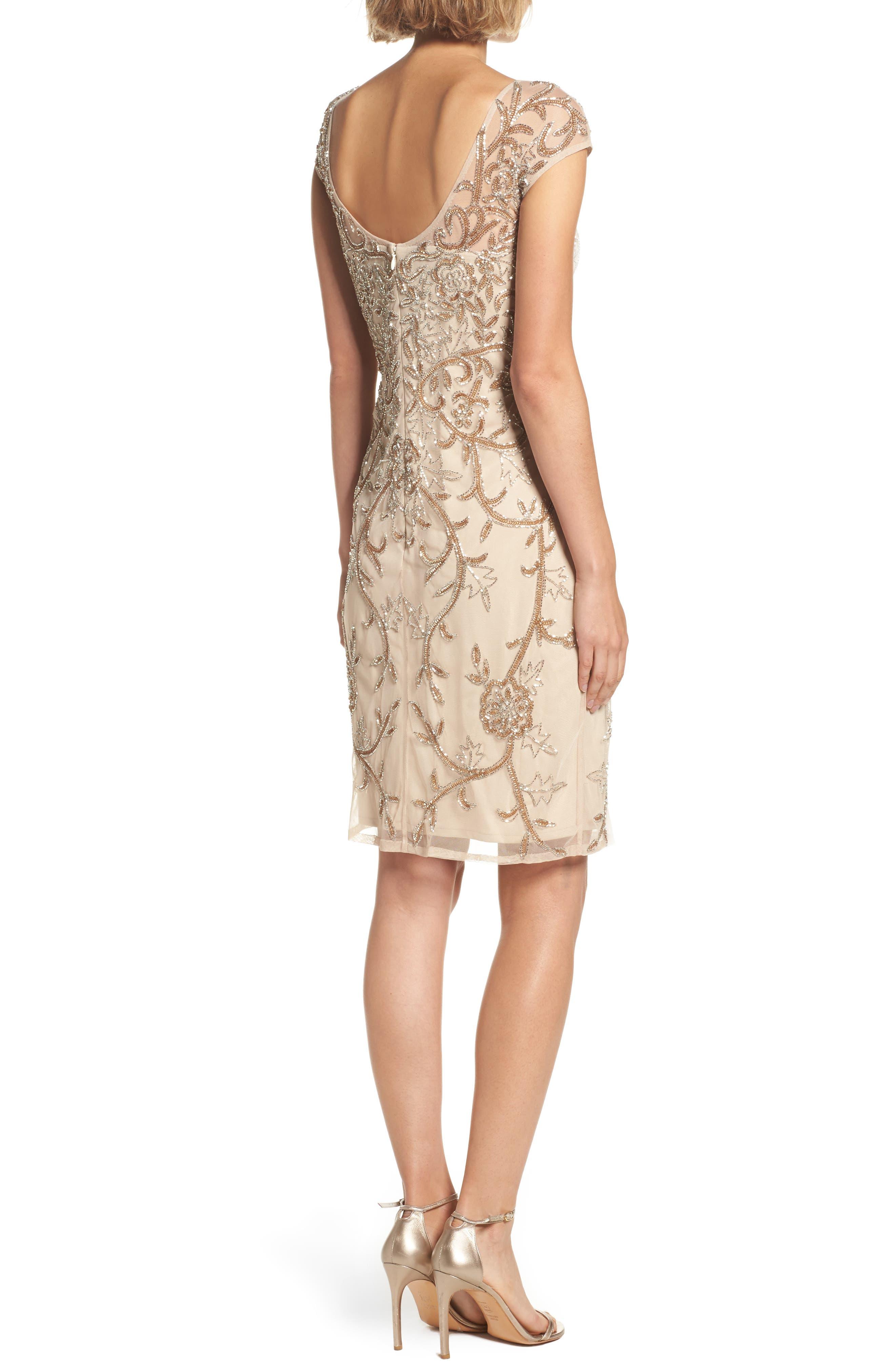Alternate Image 2  - Pisarro Nights Embellished Illusion Sheath Dress (Regular & Petite)