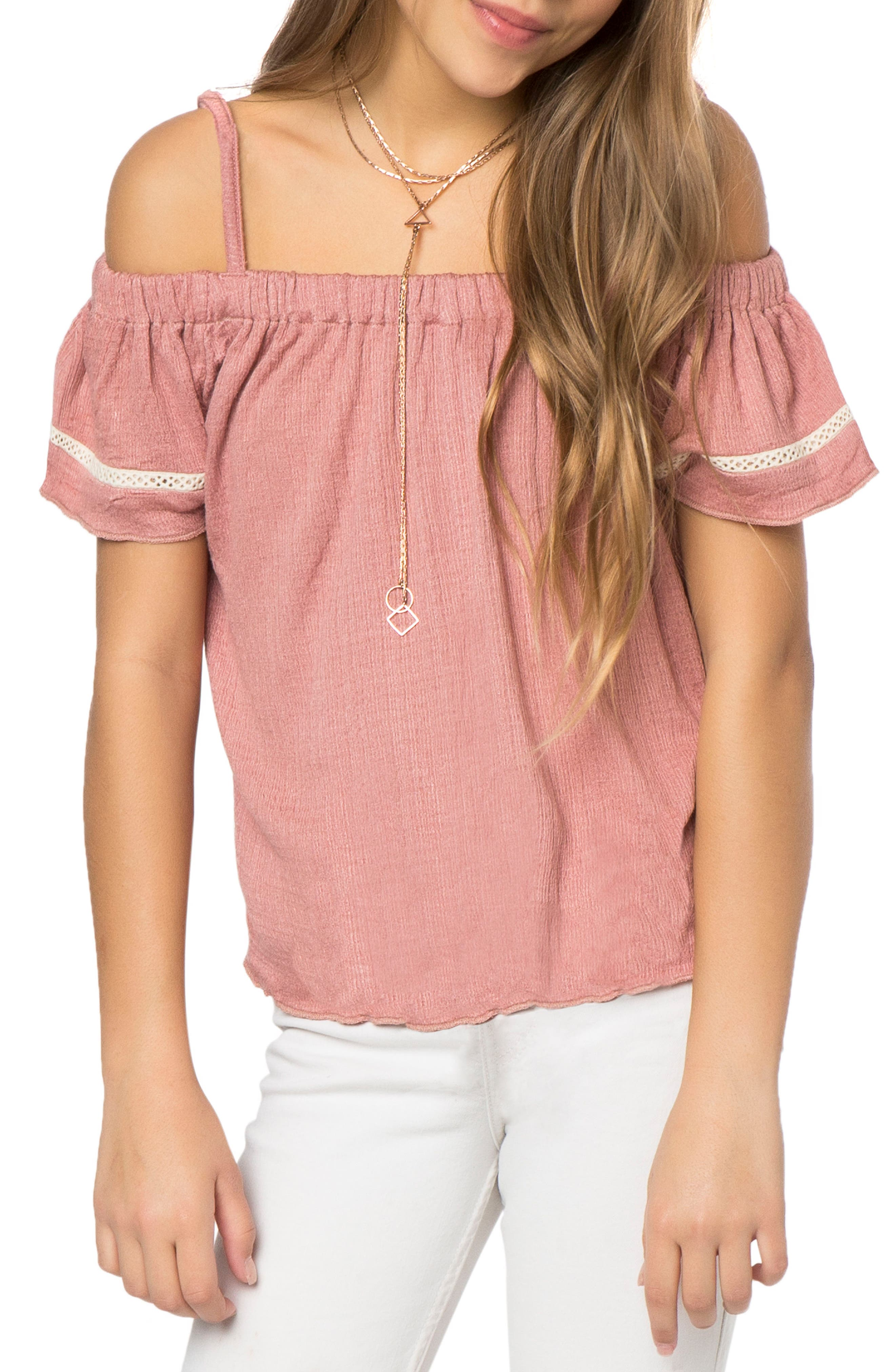 Main Image - O'Neill Rhonda Off the Shoulder Top (Big Girls)