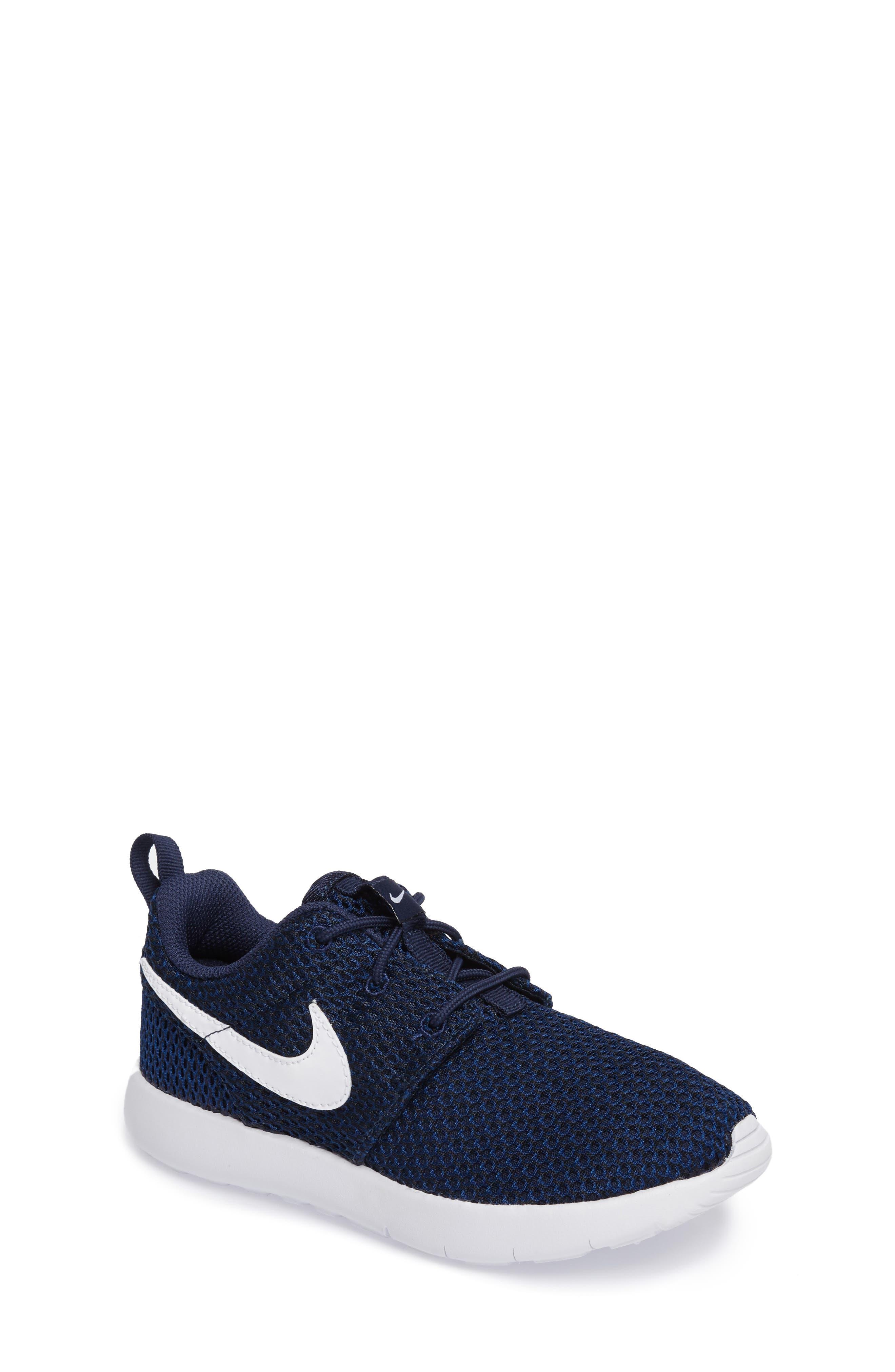 Nike Roshe Run Sneaker (Toddler & Little Kid). BLACK/ WHITE/ METALLIC  SILVER ...