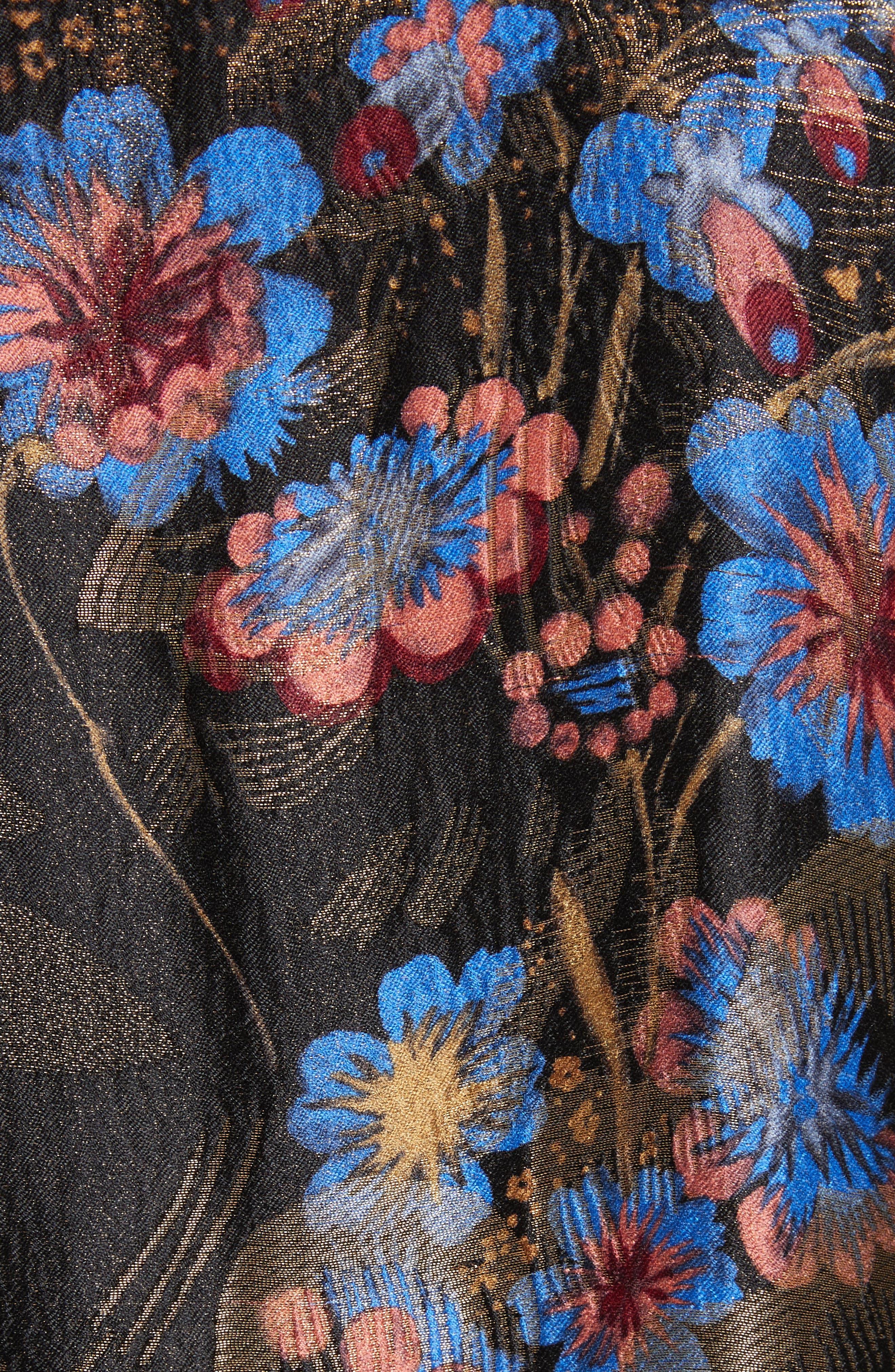 Fringe Trim Metallic Jacquard Jacket,                             Alternate thumbnail 5, color,                             Black