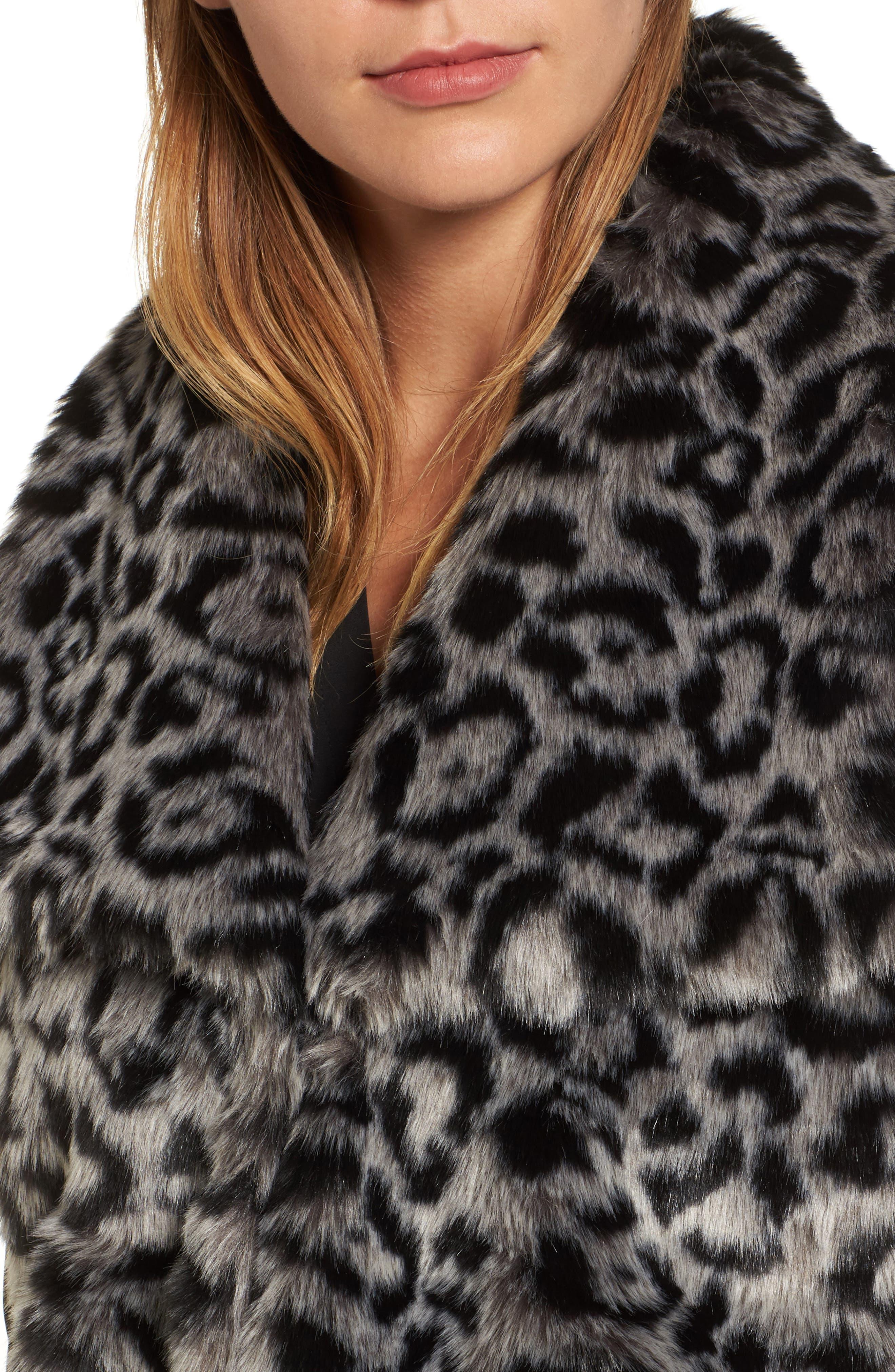 Faux Fur Vest,                             Alternate thumbnail 4, color,                             Snow Leopard