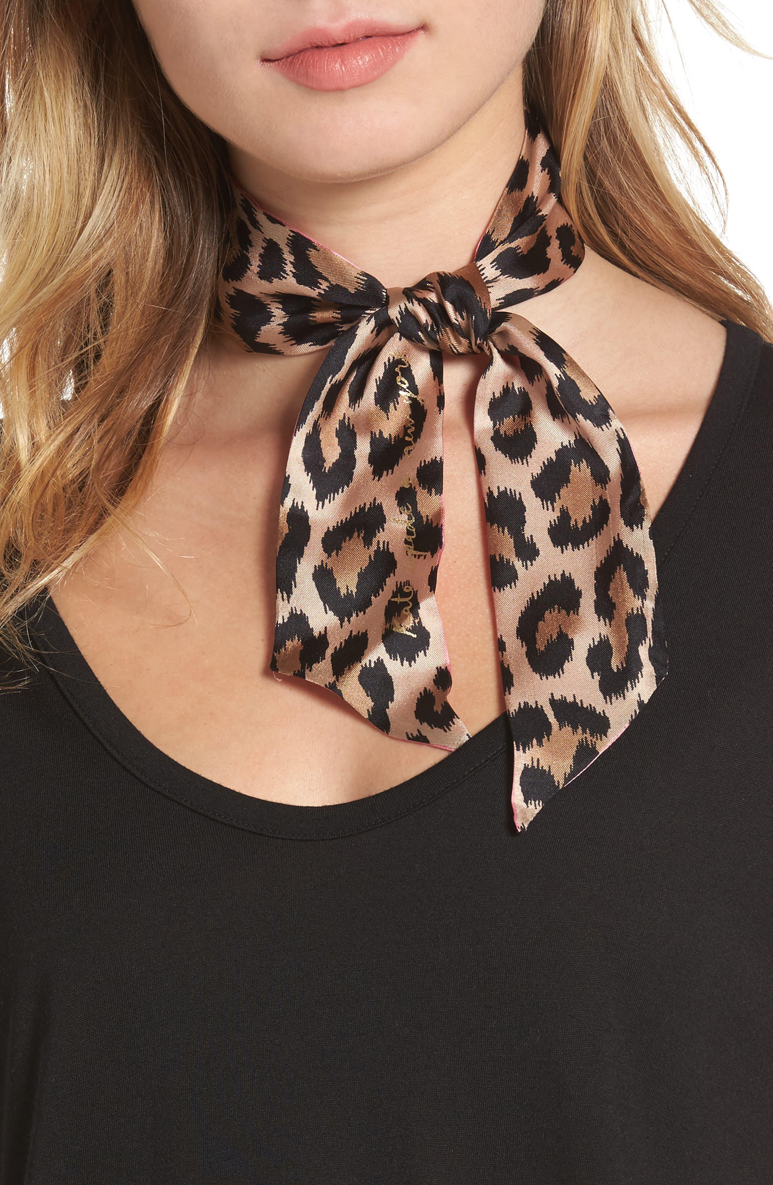classic leopard skinny silk scarf,                         Main,                         color, Fleur De Lis