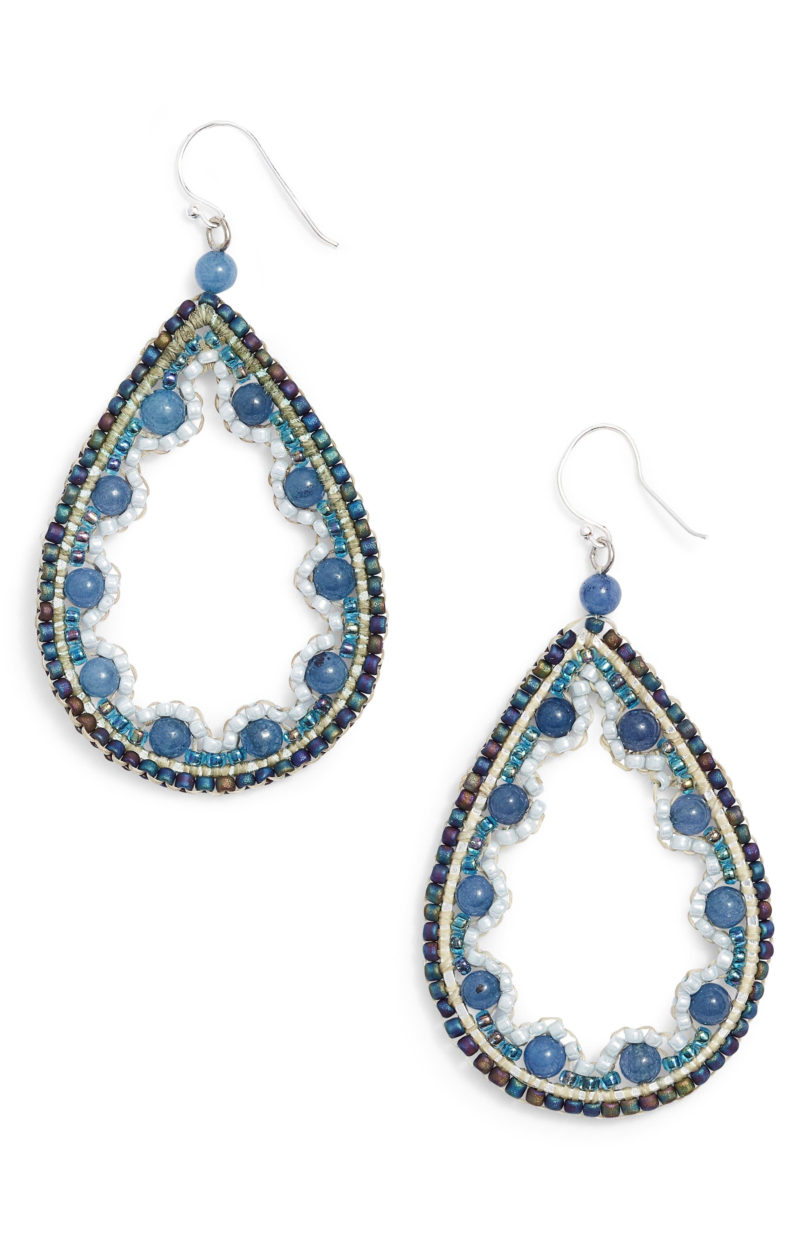 Beaded Agate Teardrop Earrings,                         Main,                         color, Blue