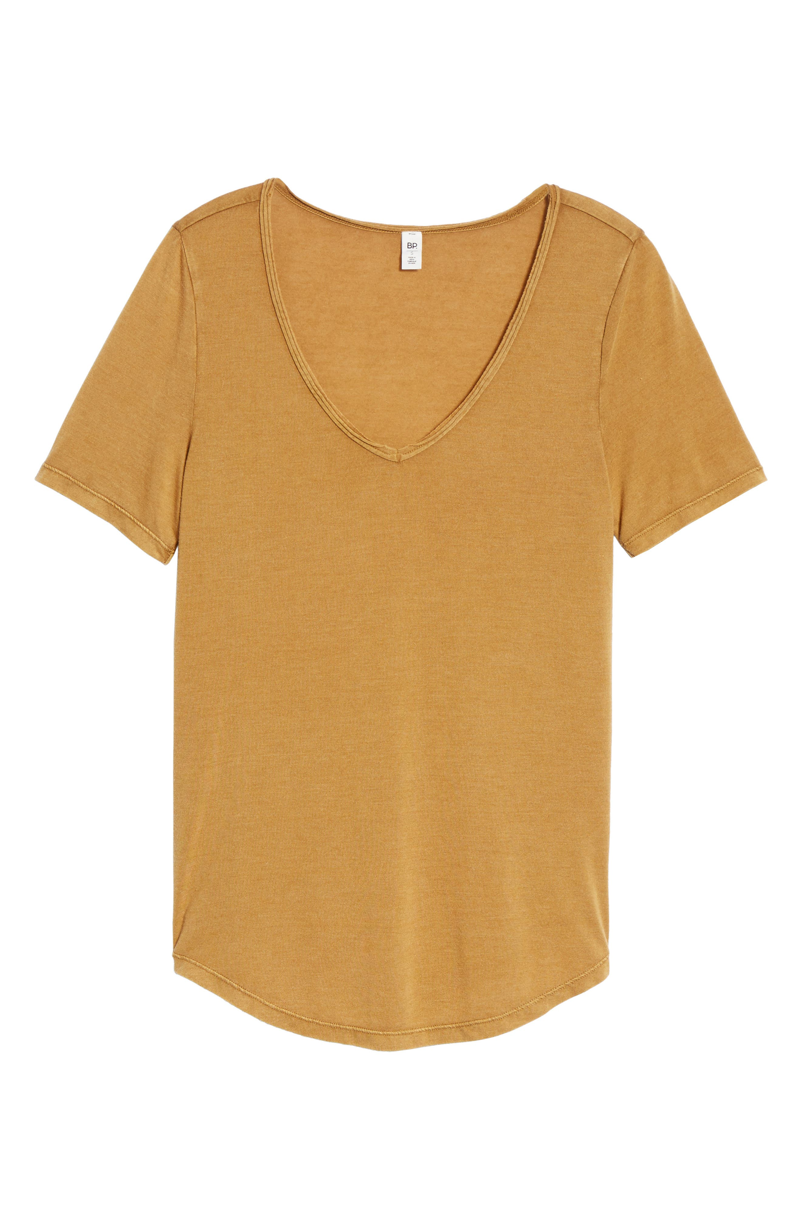 Raw Edge V-Neck Tee,                             Alternate thumbnail 6, color,                             Brown Cattail