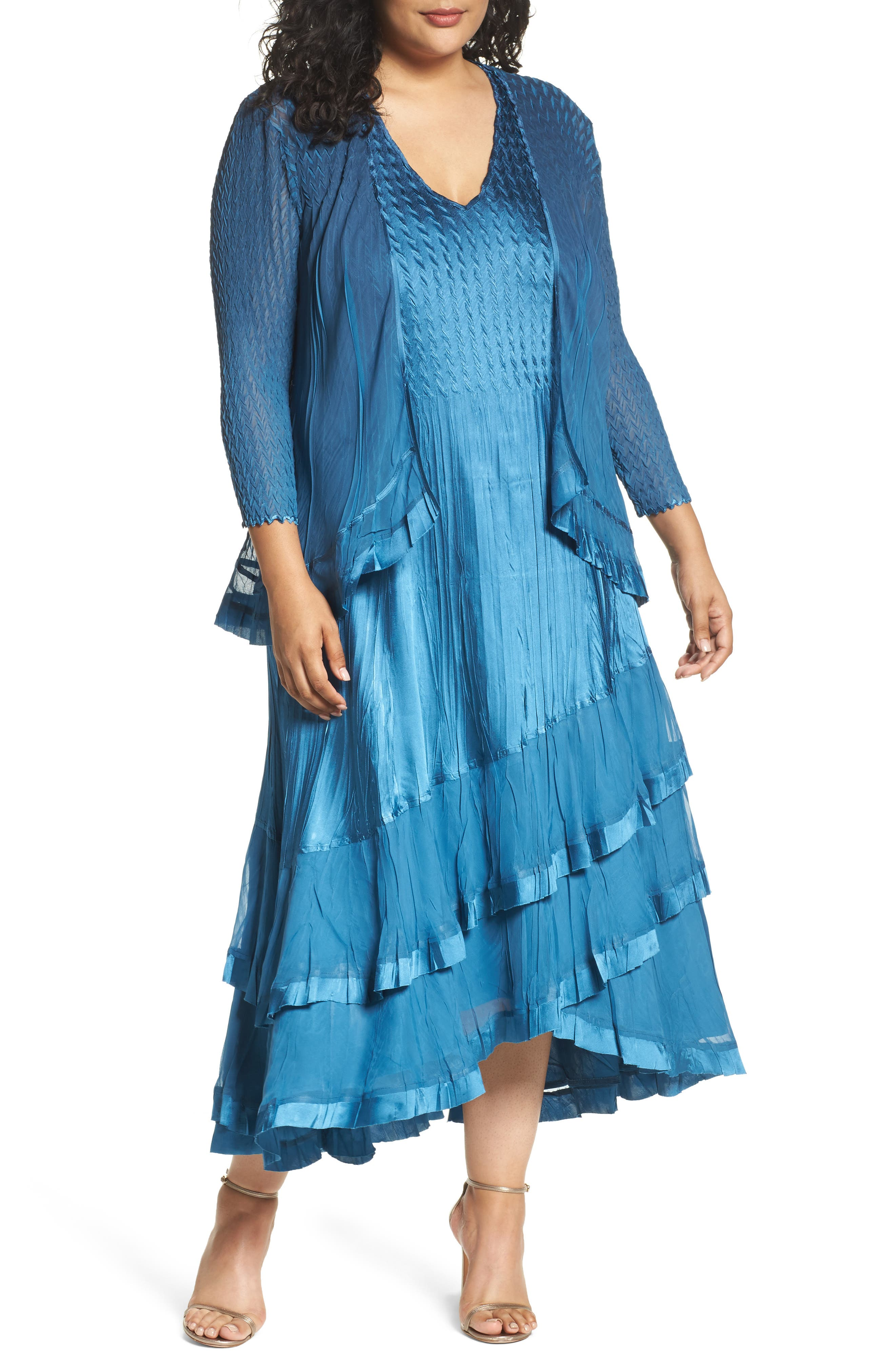 Tiered Dress with Jacket,                             Main thumbnail 1, color,                             Blue Dusk