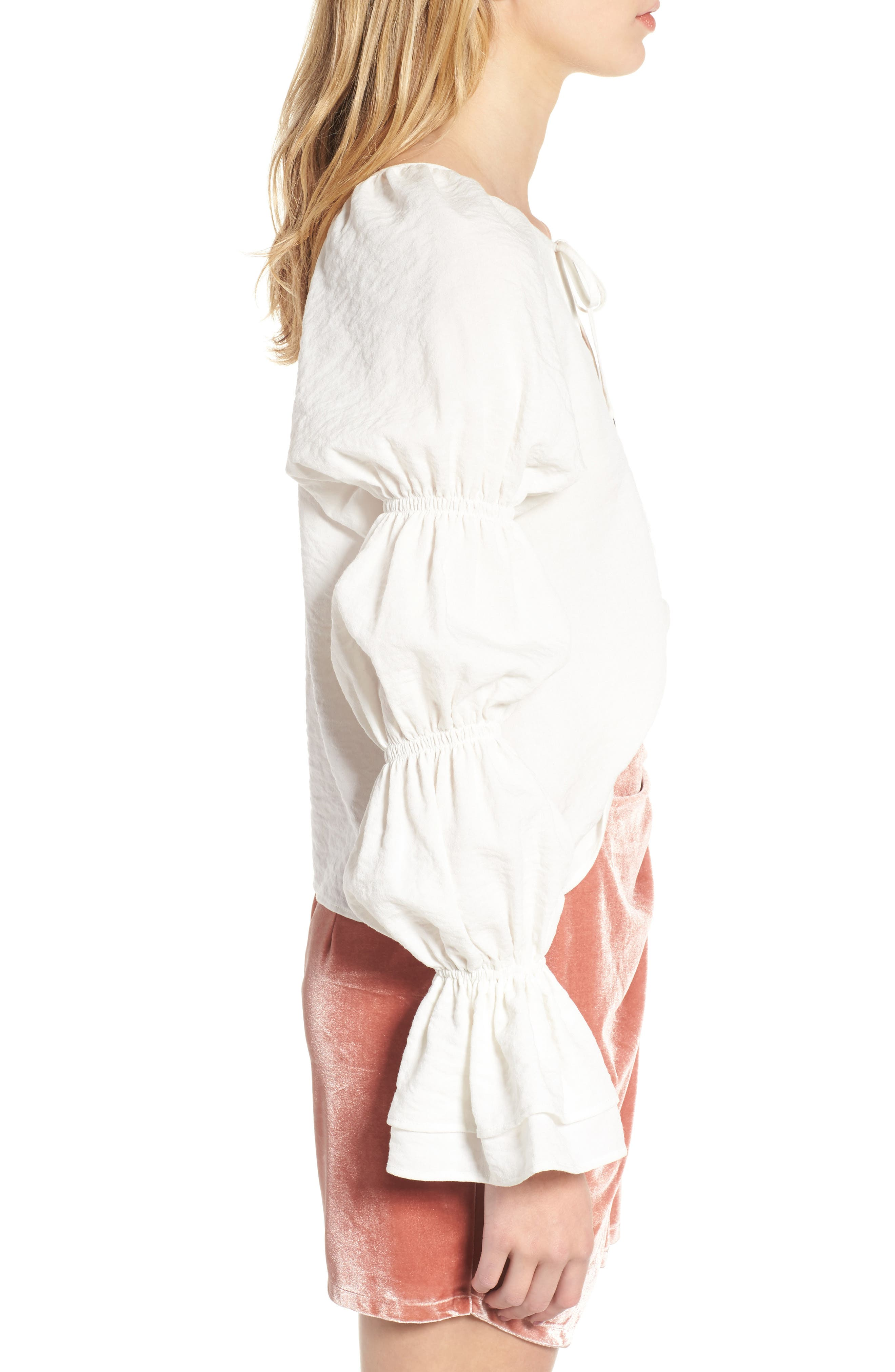 East Puff Sleeve Top,                             Alternate thumbnail 3, color,                             Ivory