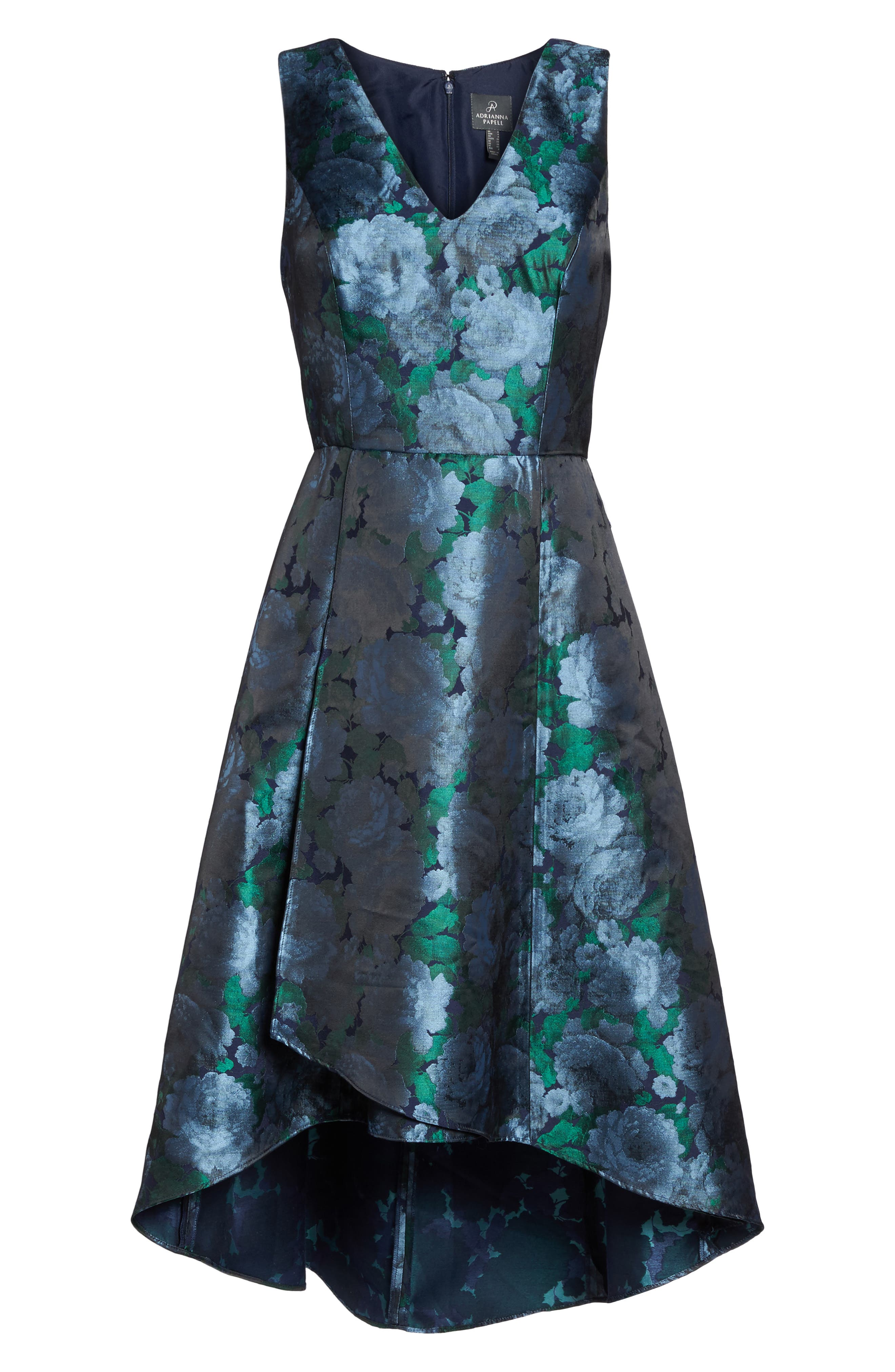 Brocade High/Low Dress,                             Alternate thumbnail 6, color,                             Blue/ Navy