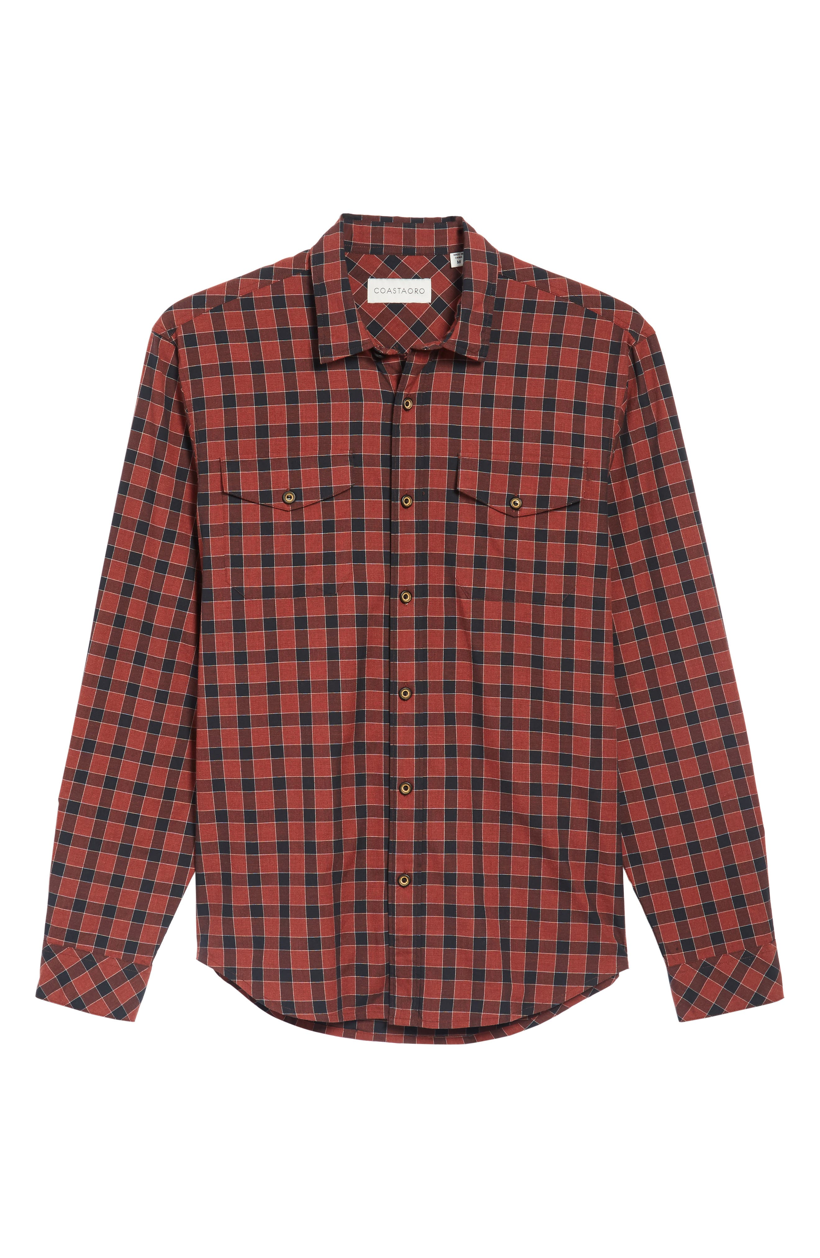 Lake Plaid Flannel Shirt,                             Alternate thumbnail 6, color,                             Red