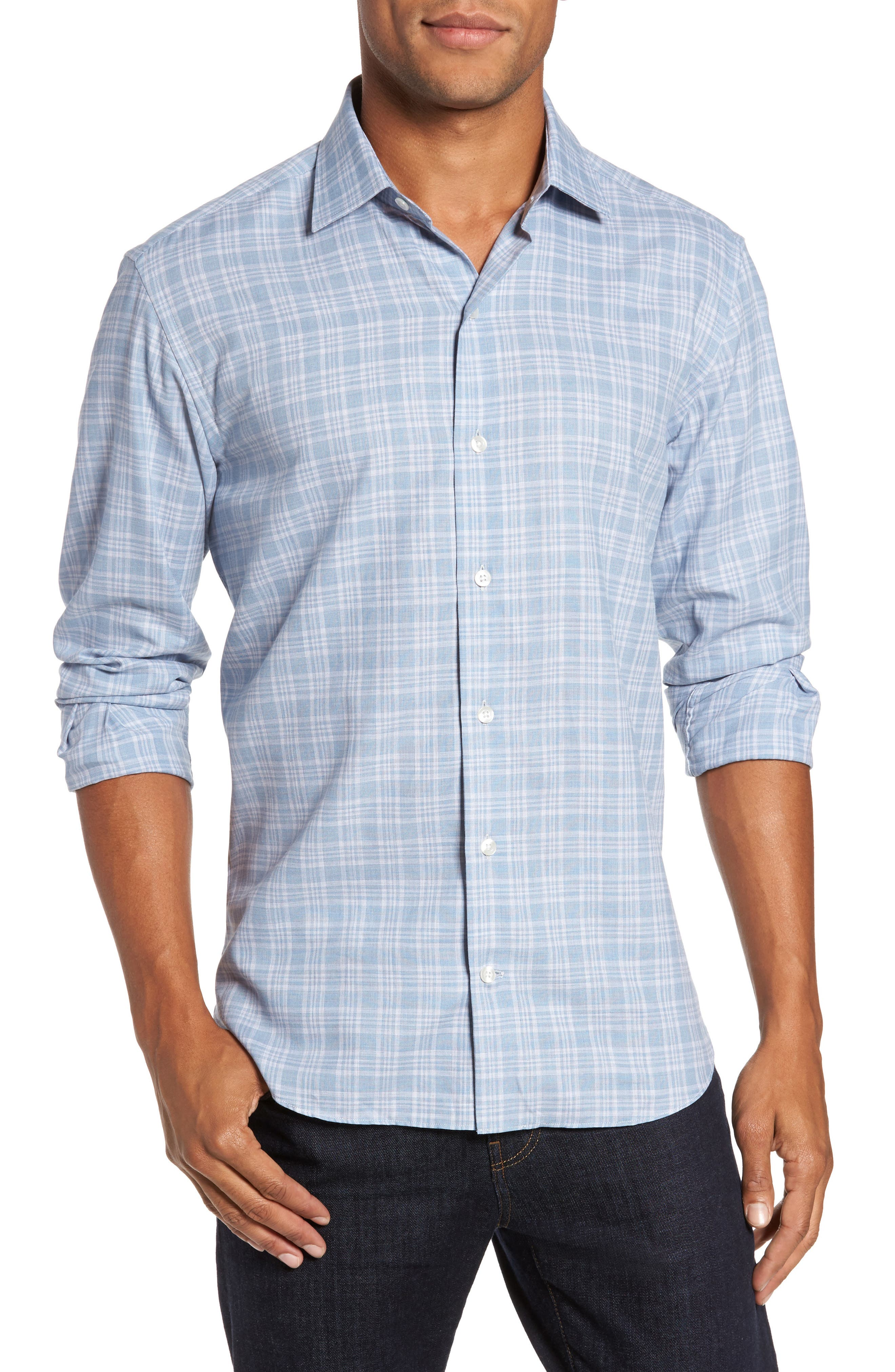 Trim Fit Check Sport Shirt,                             Main thumbnail 1, color,                             Blue