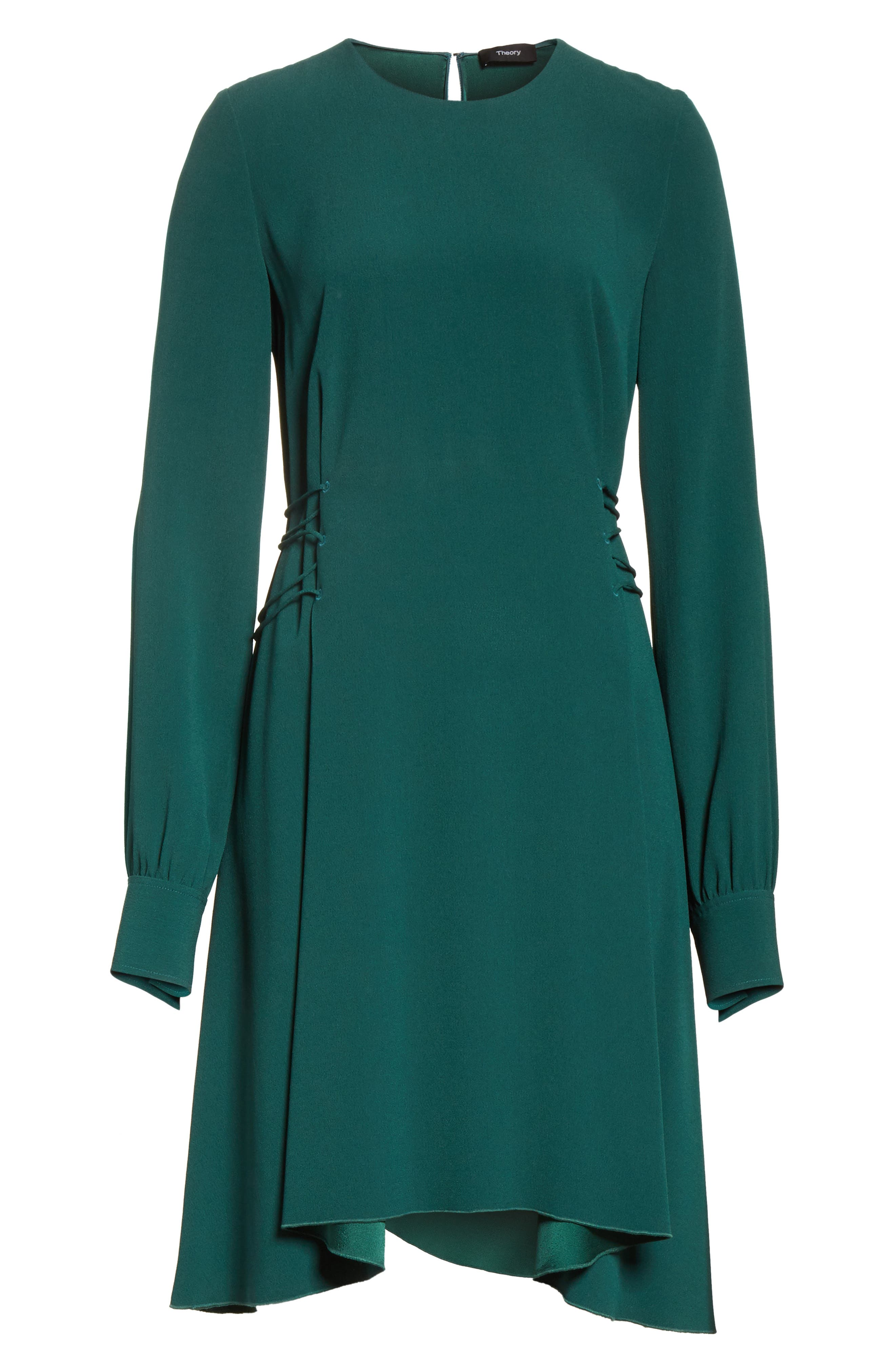 Kensington Lace-Up A-Line Dress,                             Alternate thumbnail 6, color,                             Bright Hunter