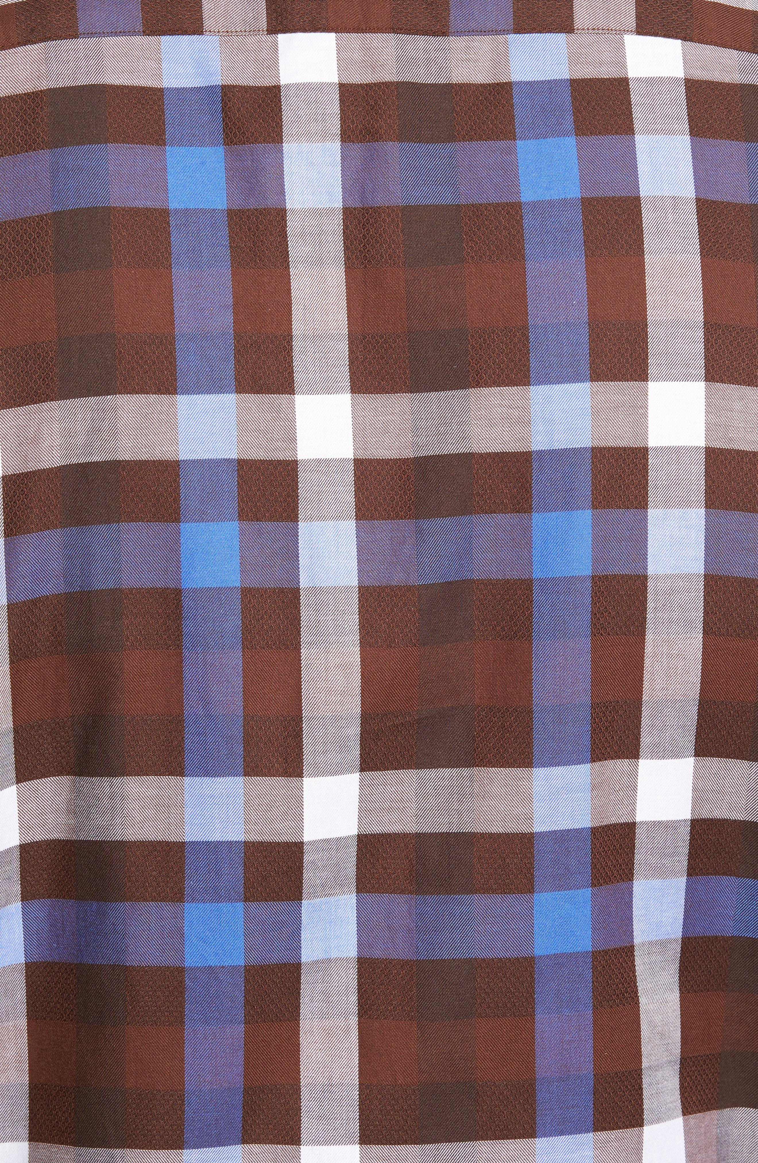 Regular Fit Dobby Check Sport Shirt,                             Alternate thumbnail 5, color,                             Brown